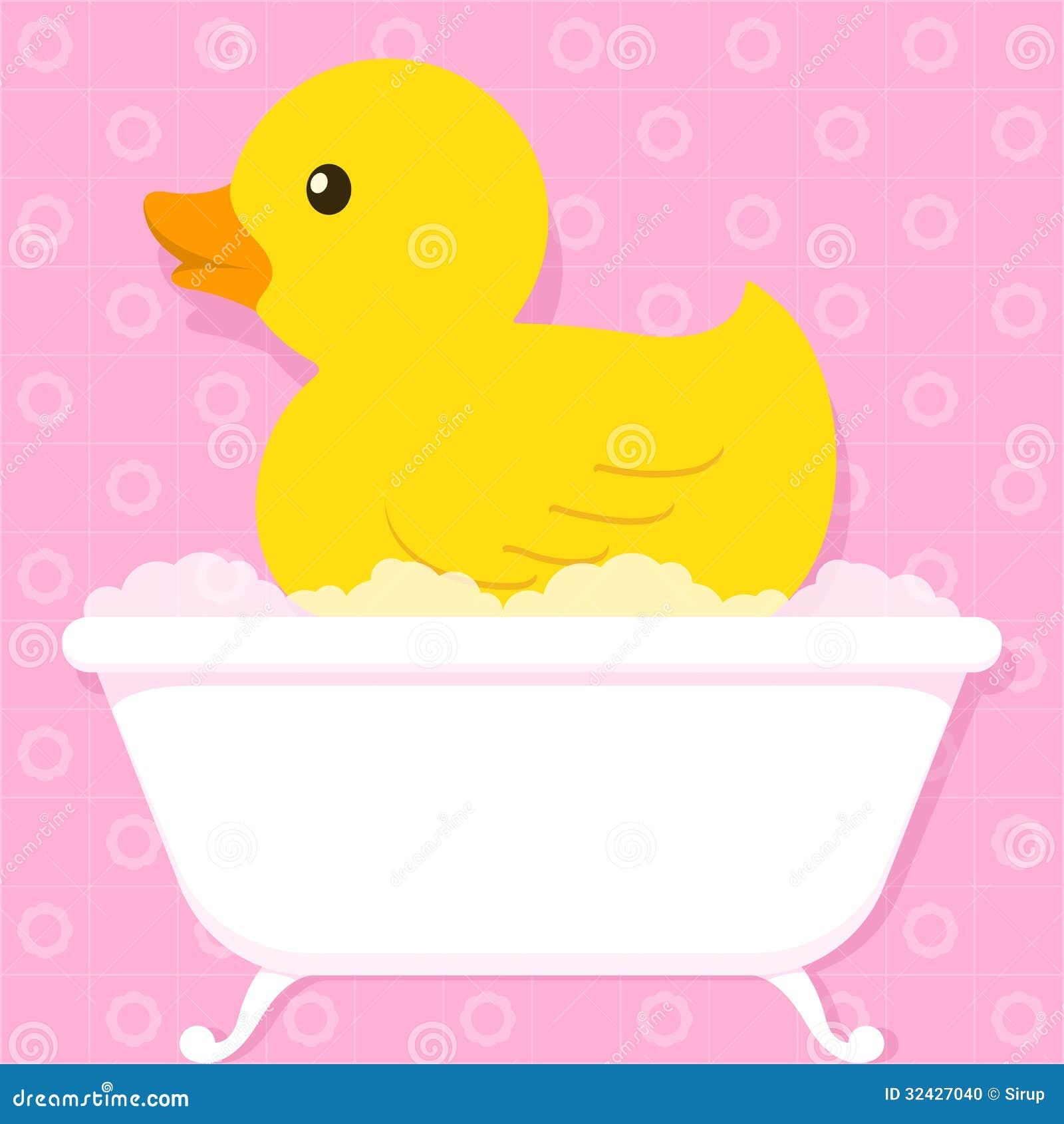Gelbe Ente In Der Badewanne Mit Blasen Vektor Abbildung