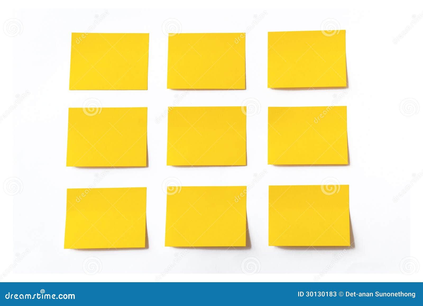 Gelbe klebrige Anmerkungen