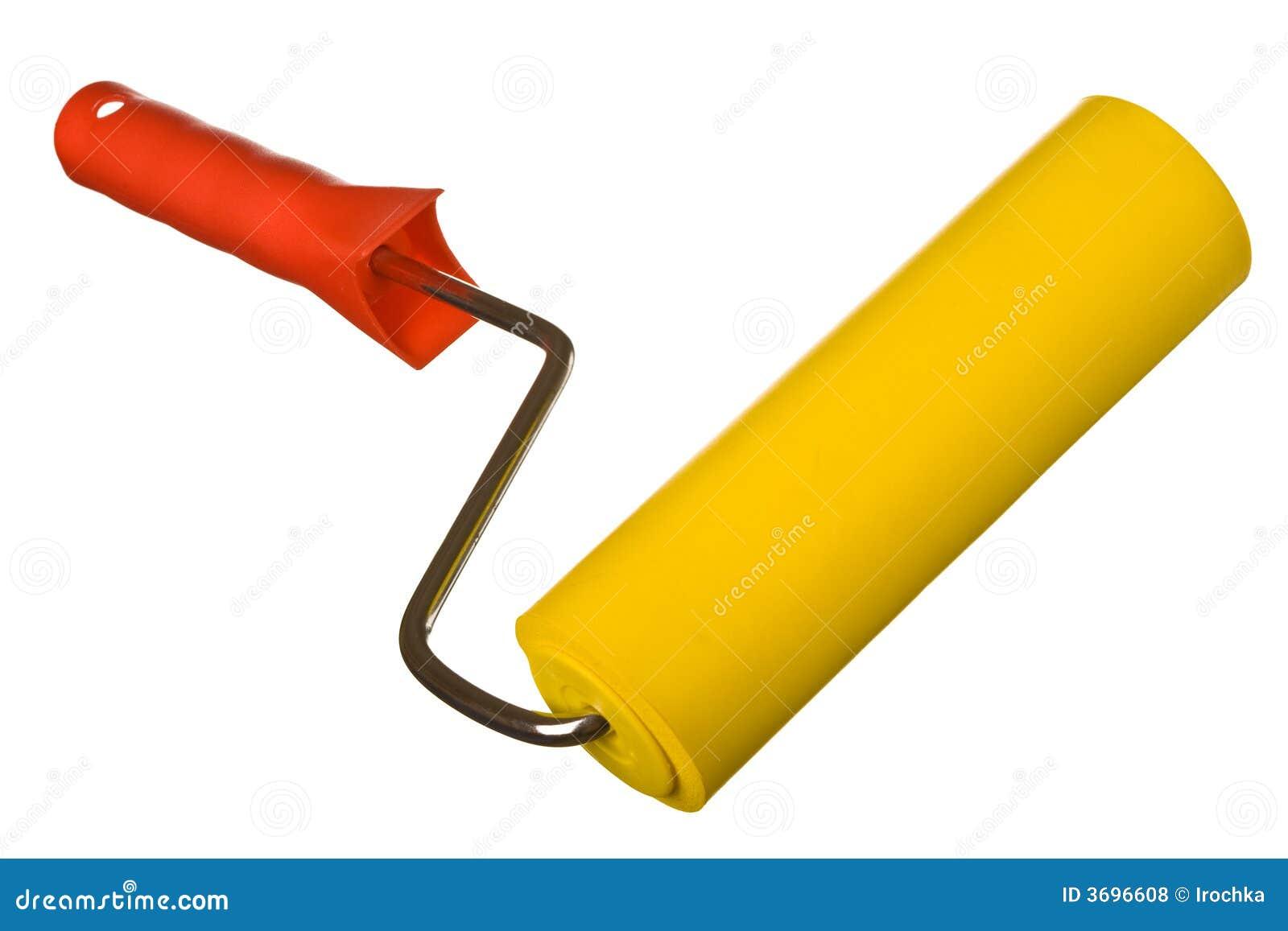 gelbe lackrolle auf weiß stockfoto. bild von rolle, gelb - 3696608