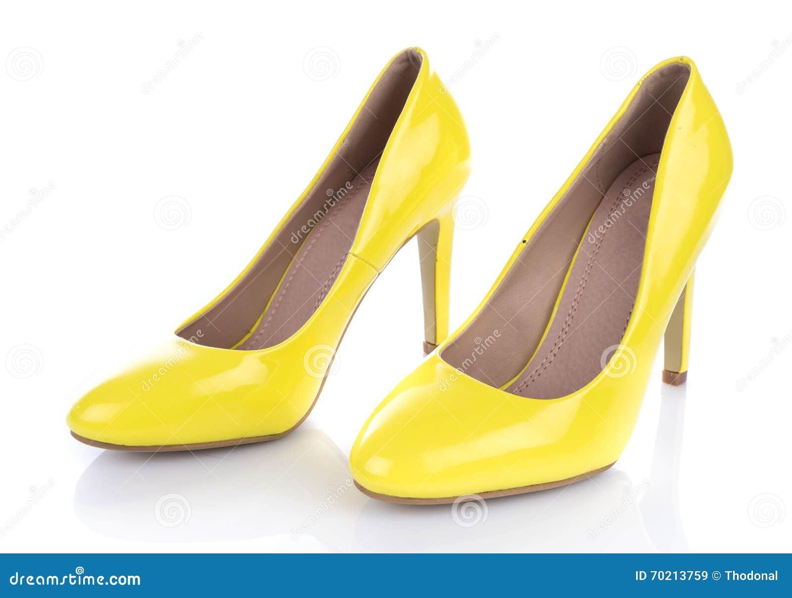 low priced 4fab1 c1fbd Gelbe Schuhe Der Hohen Absätze Stockbild - Bild von paar ...