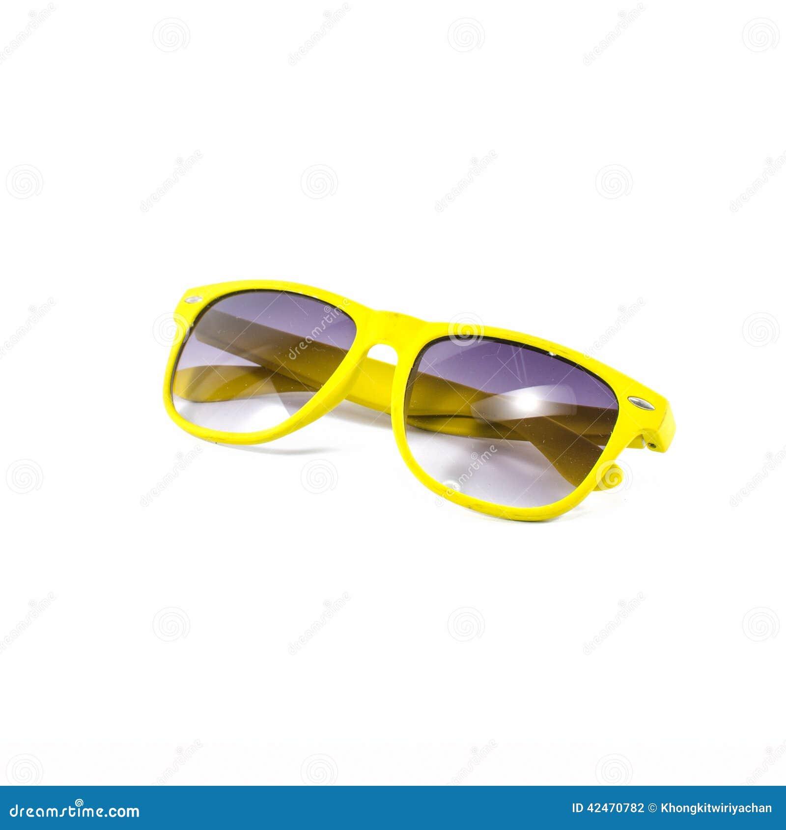 Gelbe Sonnenbrille lokalisiert auf Weiß