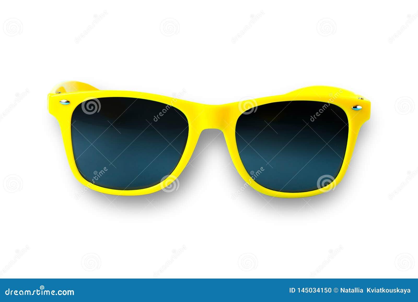 Gelbe Sonnenbrillen lokalisiert ?ber dem wei?en Hintergrund