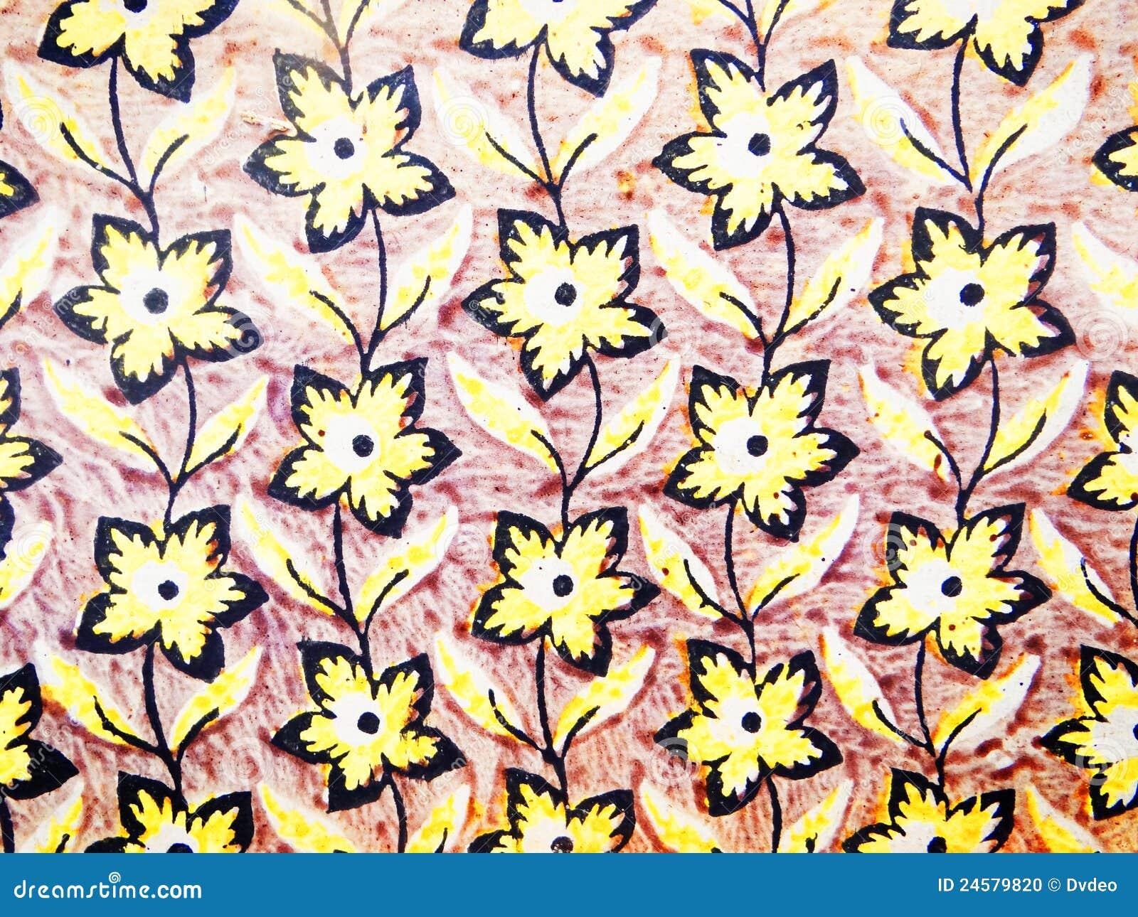 gelbe tapete stockfoto bild von beschaffenheit blumen. Black Bedroom Furniture Sets. Home Design Ideas