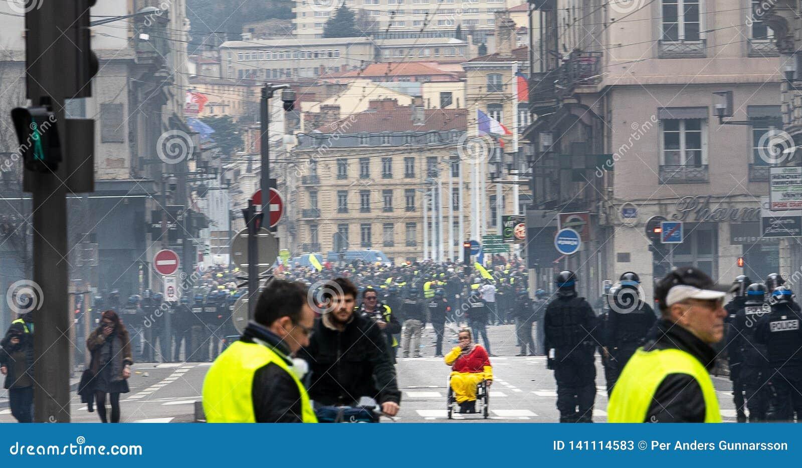 Gelbe Westenproteste Lyon Frankreich