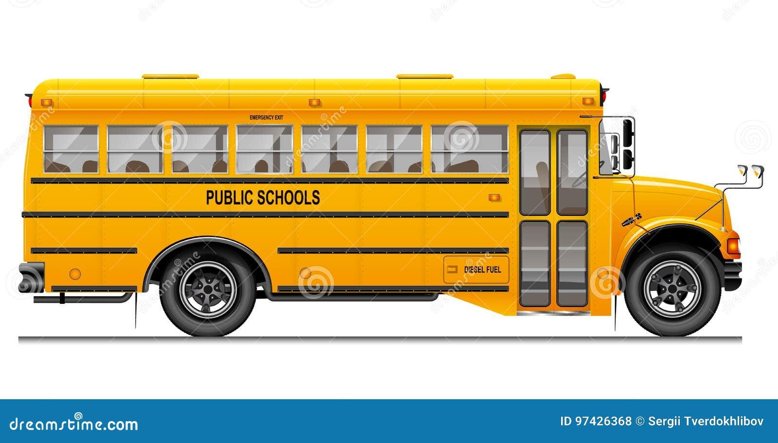 Gelber klassischer Schulbus Weicher Fokus Amerikanische Ausbildung Dreidimensionales Bild mit sorgfältig verfolgten Details