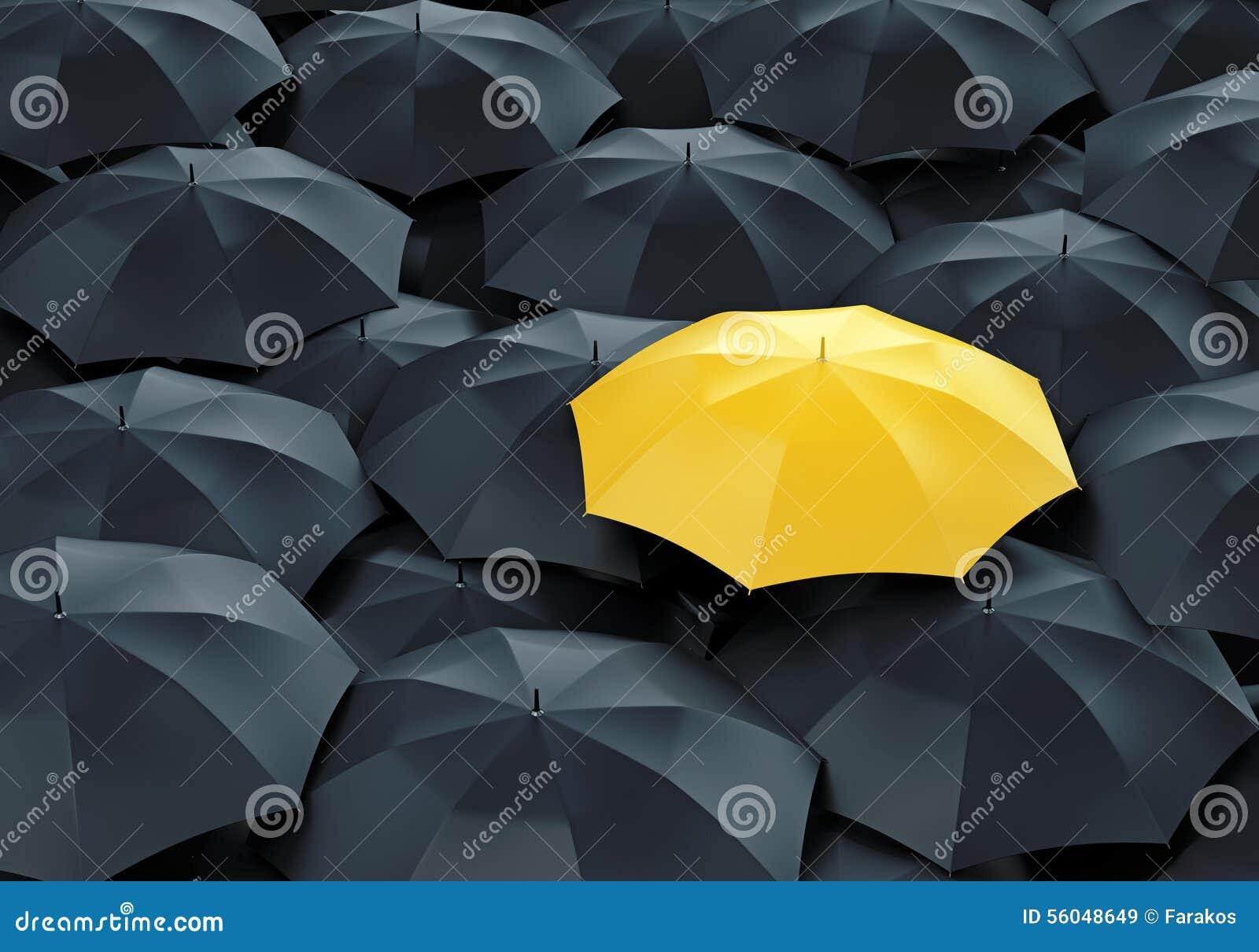 gelber regenschirm unter dunkelheit eine stock abbildung bild 56048649. Black Bedroom Furniture Sets. Home Design Ideas