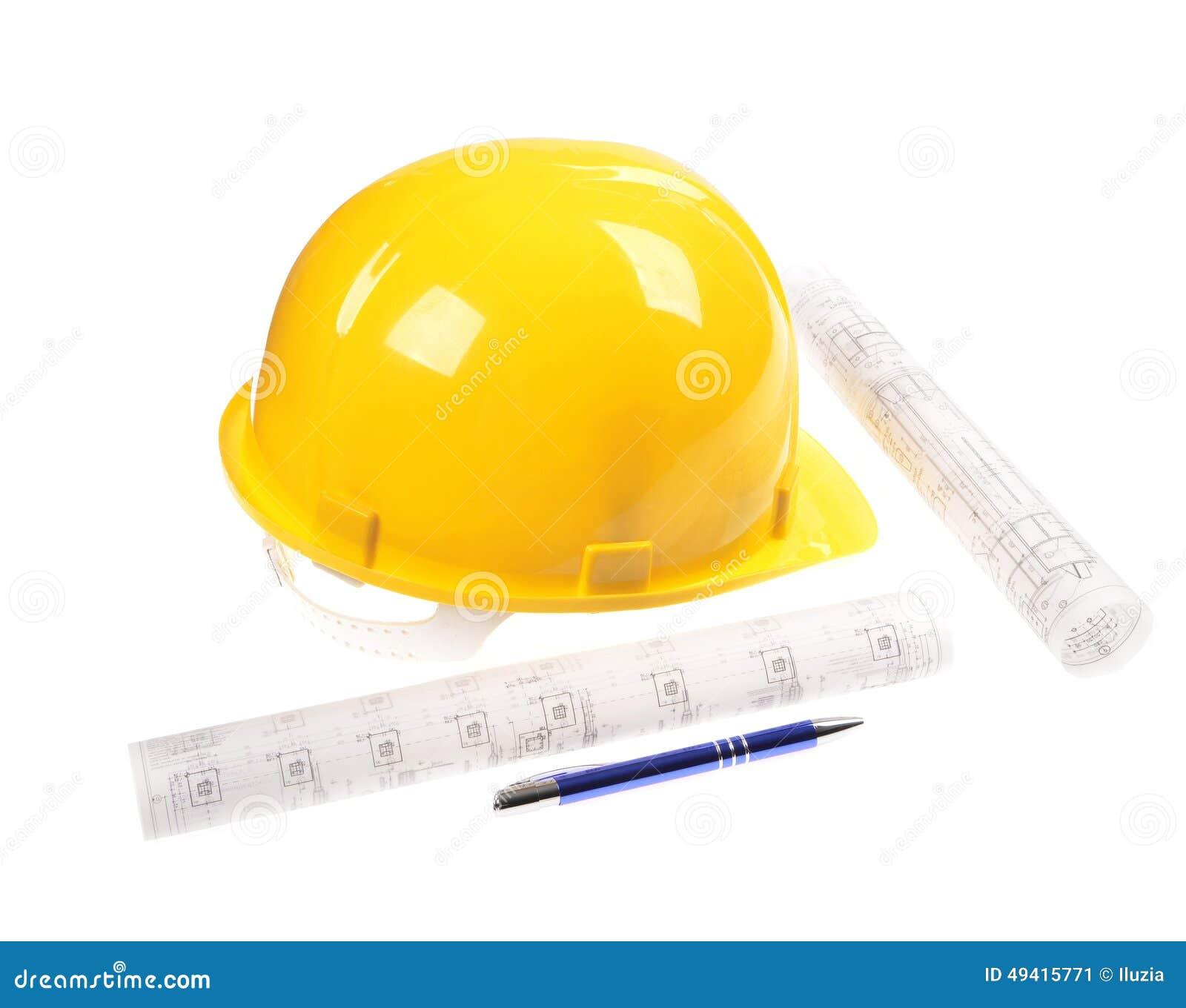 Download Gelber Sicherheits-Sturzhelm Stockbild - Bild von architekt, haus: 49415771