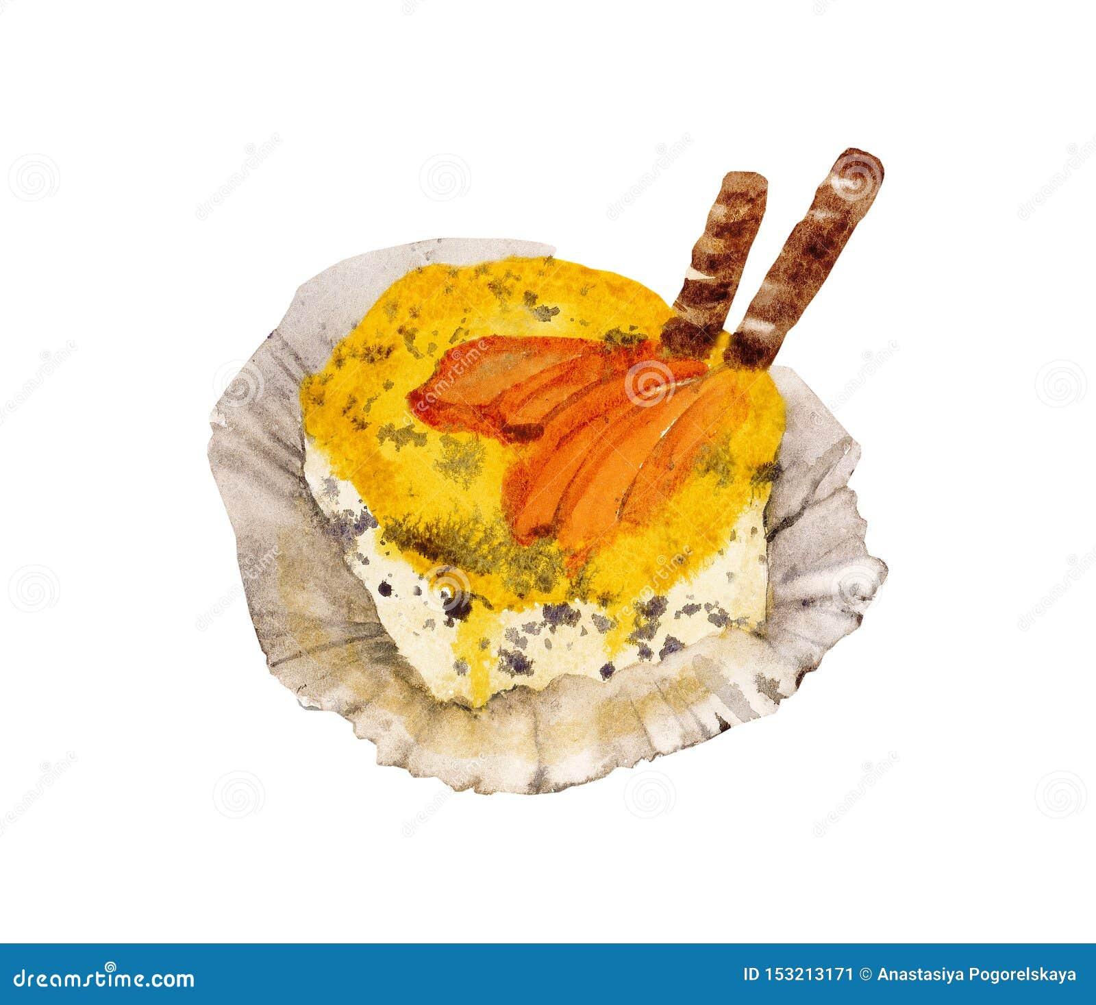 Gelbes Aquarell des kleinen Kuchens
