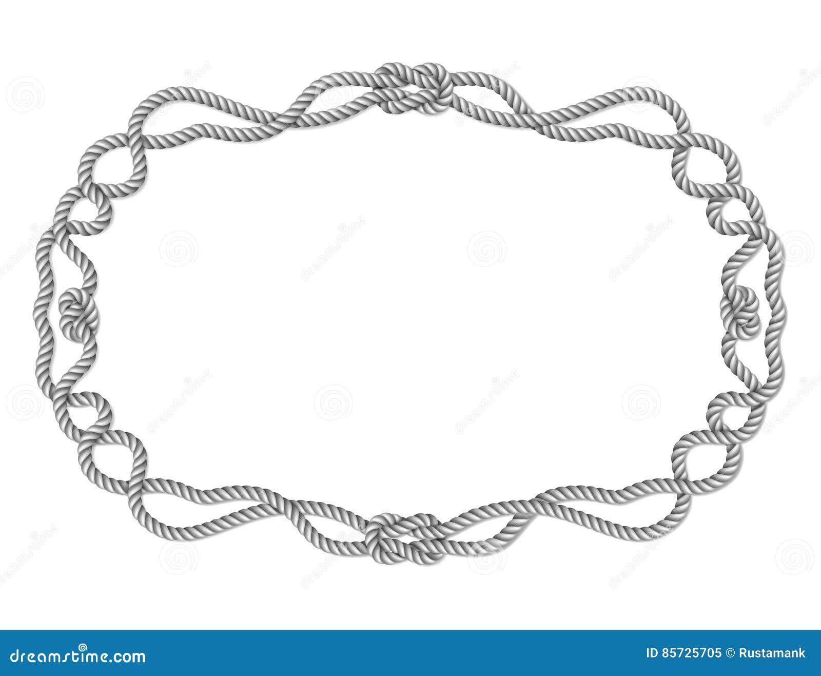 Gelbes Seil gesponnene horizontale Grenze mit Seilknoten, horizontaler Vektorrahmen, lokalisiert auf Weiß