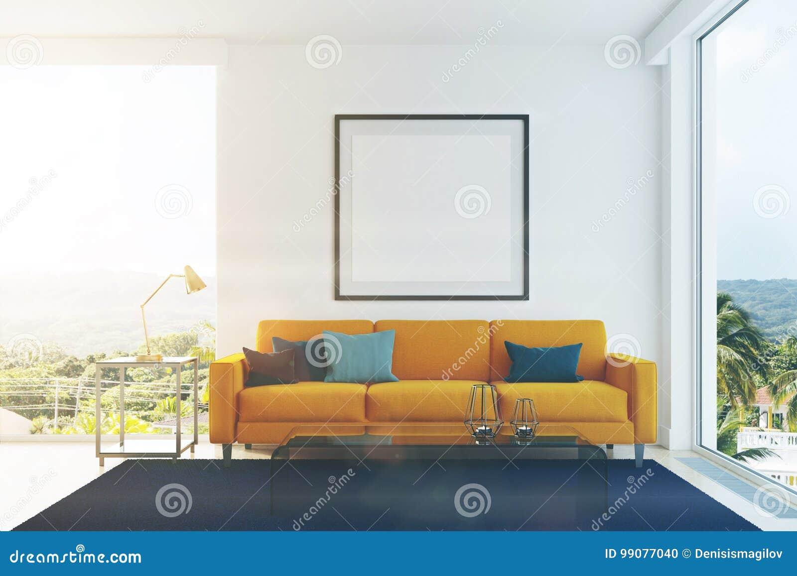 Gelbes Sofa, Blau Pillows Das Getonte Wohnzimmer Stock Abbildung ...