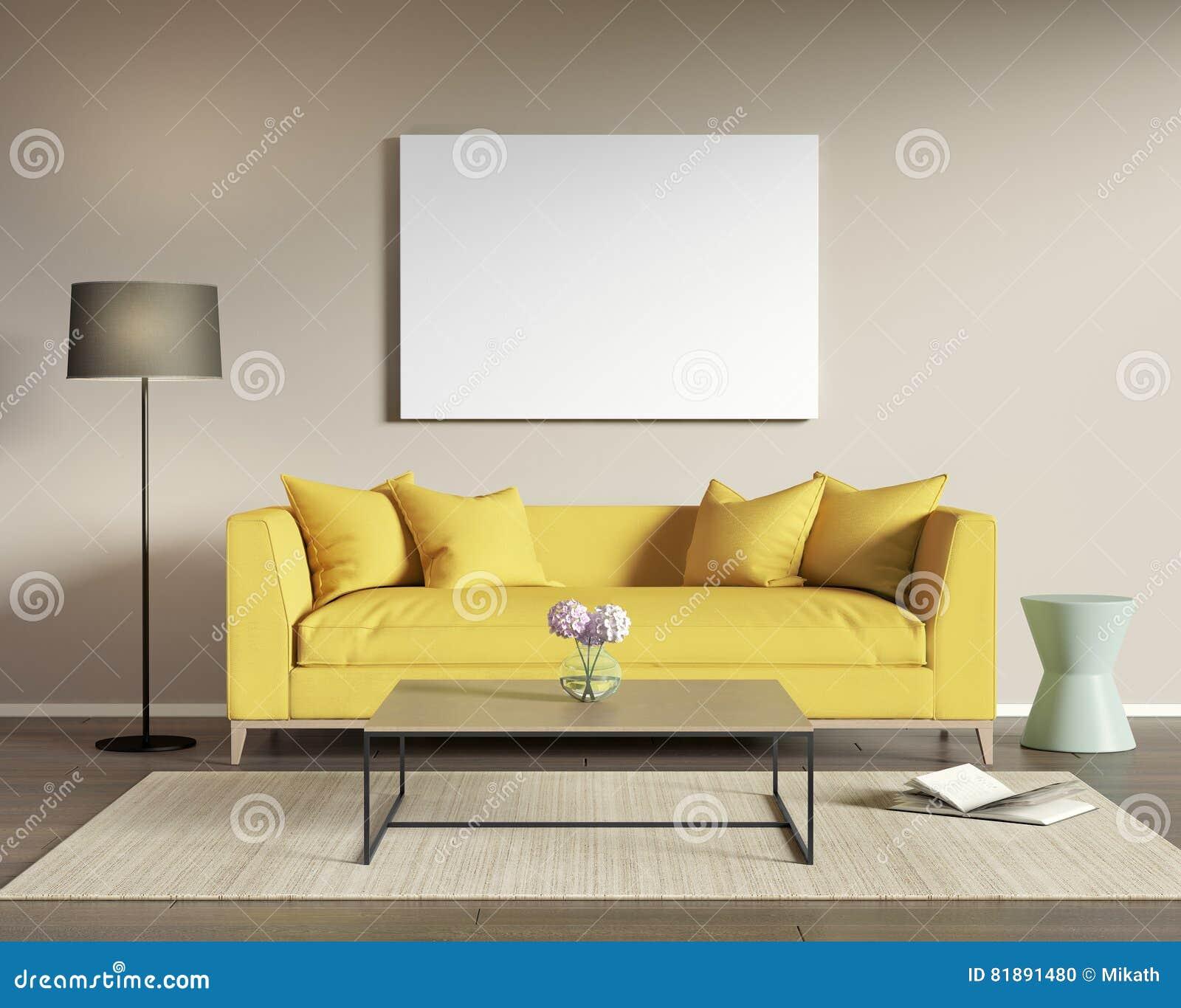 Gelbes Sofa In Einem Modernen Wohnzimmer Stock Abbildung ...