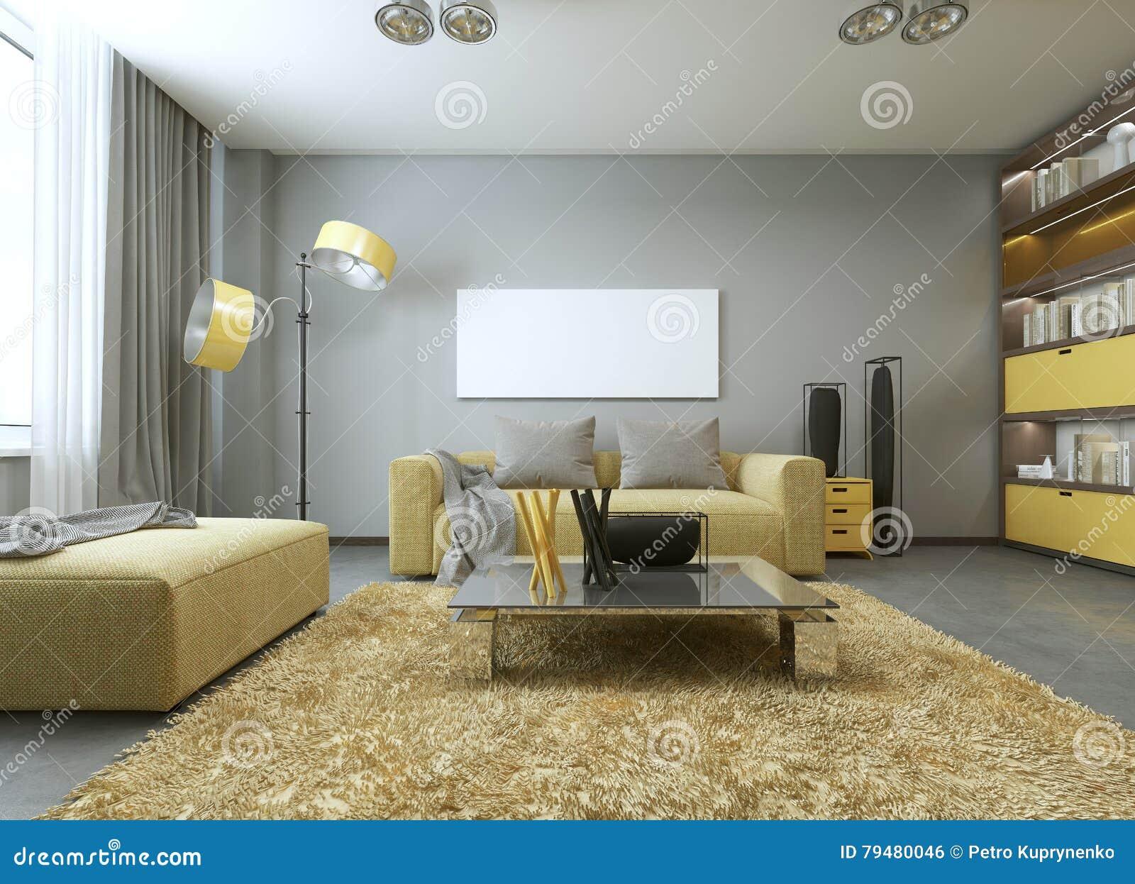Gelbes Sofa Im Modernen Wohnzimmer Stock Abbildung - Illustration ...