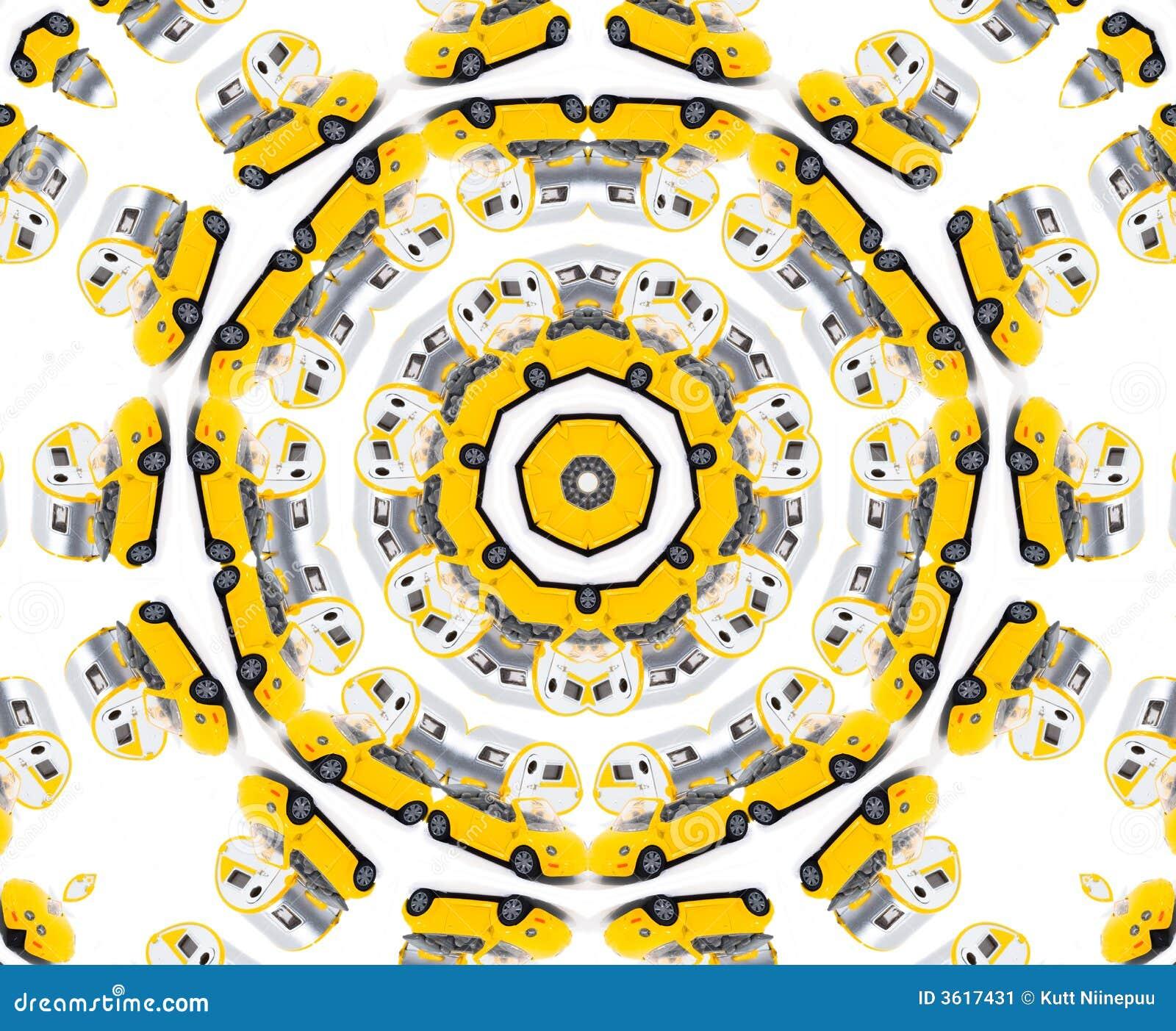 Gelbes Spielzeugautokaleidoskop