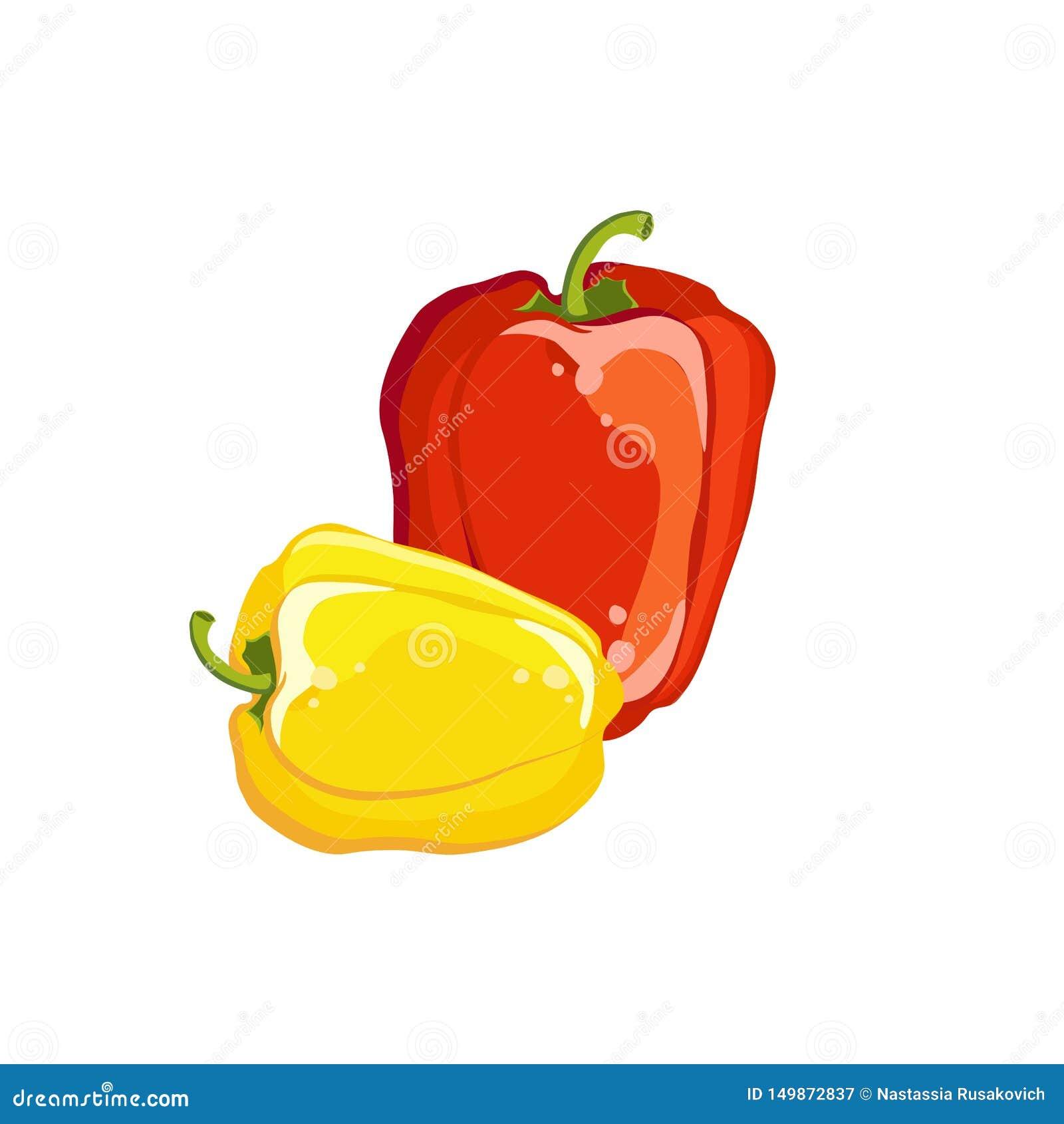 Gelbes und rot, Frischgemüse des bulgarischen Pfeffers Auch im corel abgehobenen Betrag