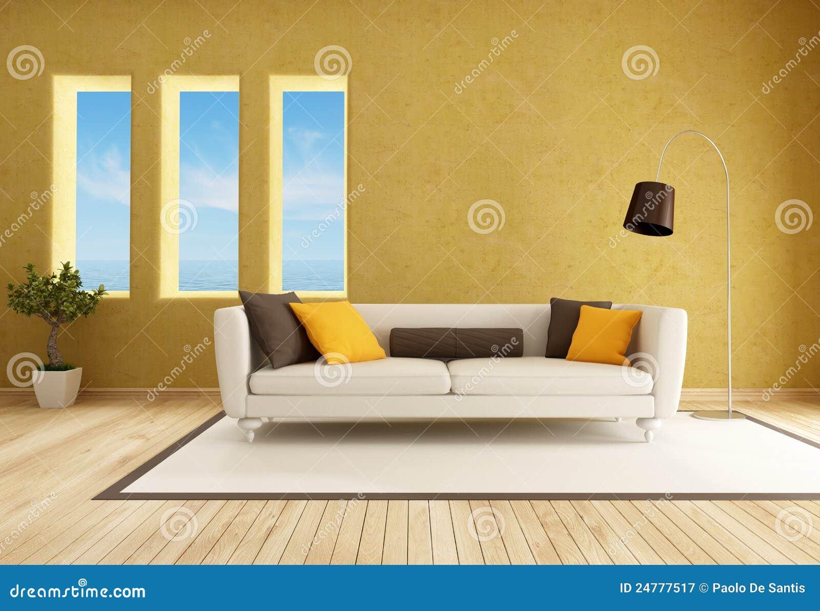Gelbes Wohnzimmer stock abbildung. Illustration von parquet - 24777517