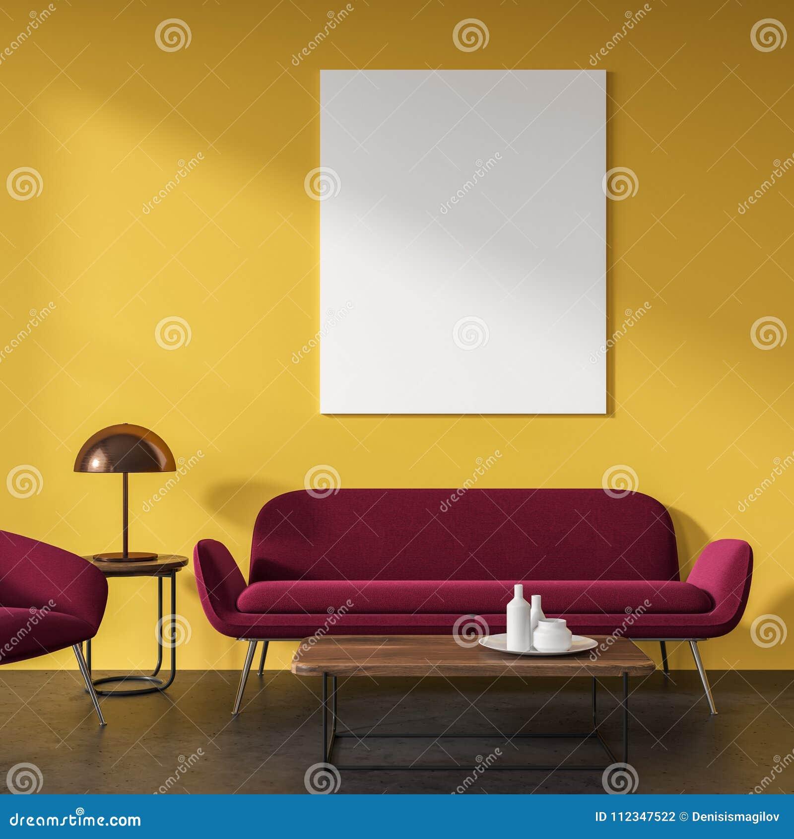 Gelbes Wohnzimmer, Rotes Sofa, Plakat Stock Abbildung