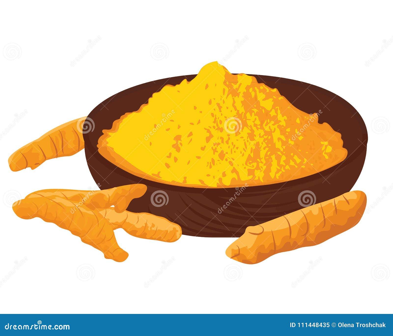 Gelbwurzwurzeln und -pulver in einer Schüssel auf einem weißen Hintergrund