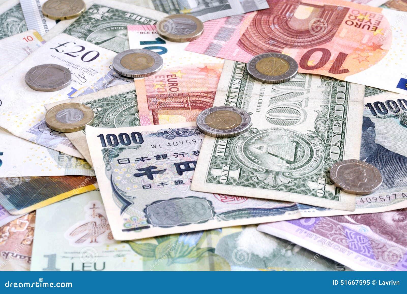 Geld Aus Verschiedenen Ländern Mit Euromünzen Stockbild Bild Von