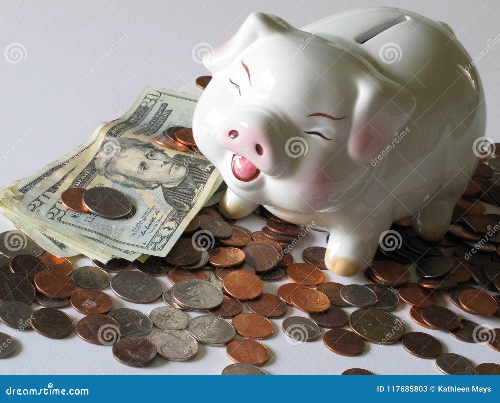 Geld in der Bank, das Sparschwein