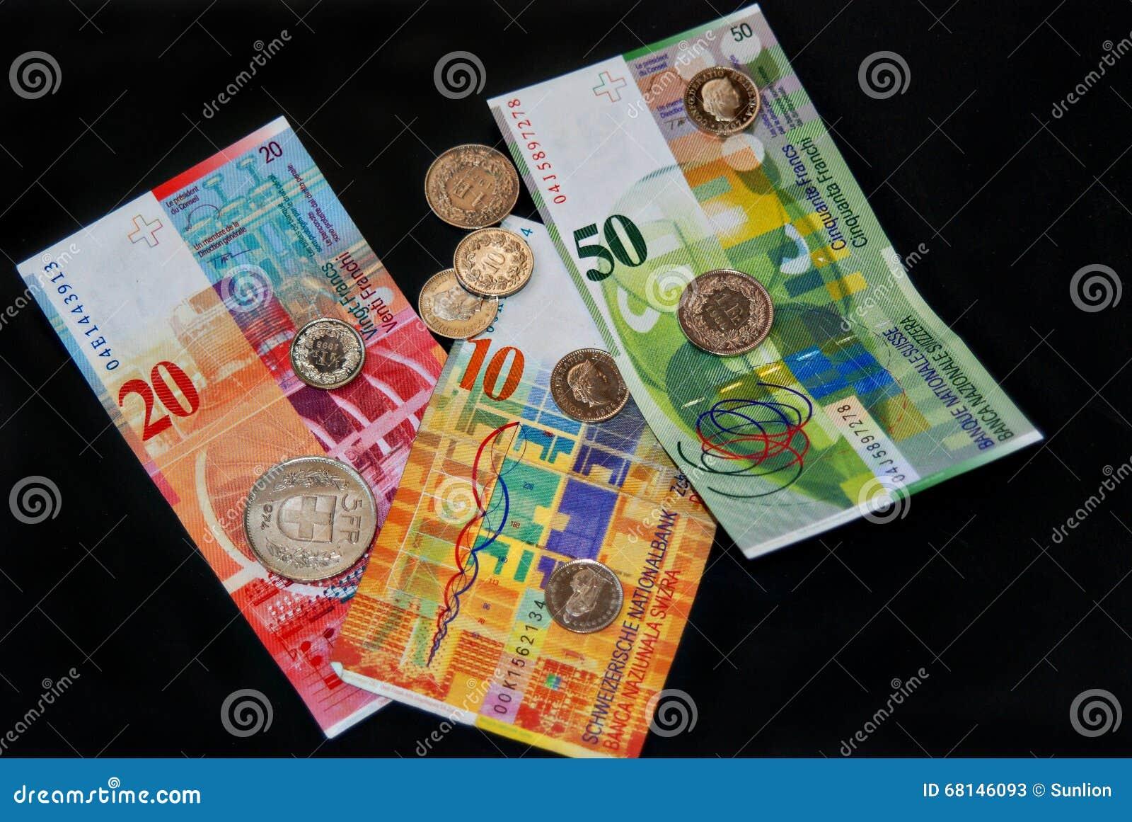 geld des schweizer franken auf schwarzem m nzen und banknoten stockbild bild von ernstlich. Black Bedroom Furniture Sets. Home Design Ideas