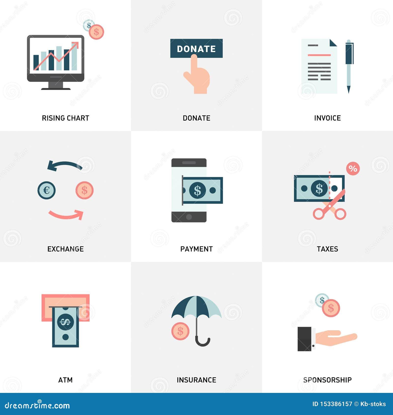 Geld, financiën, betalingenelementen De eenvoudige Reeks van Geld bracht Vlakke Vectorpictogrammen met elkaar in verband