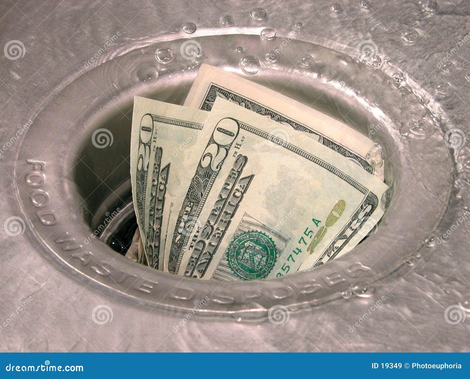 Geld hinunter den Ablaß