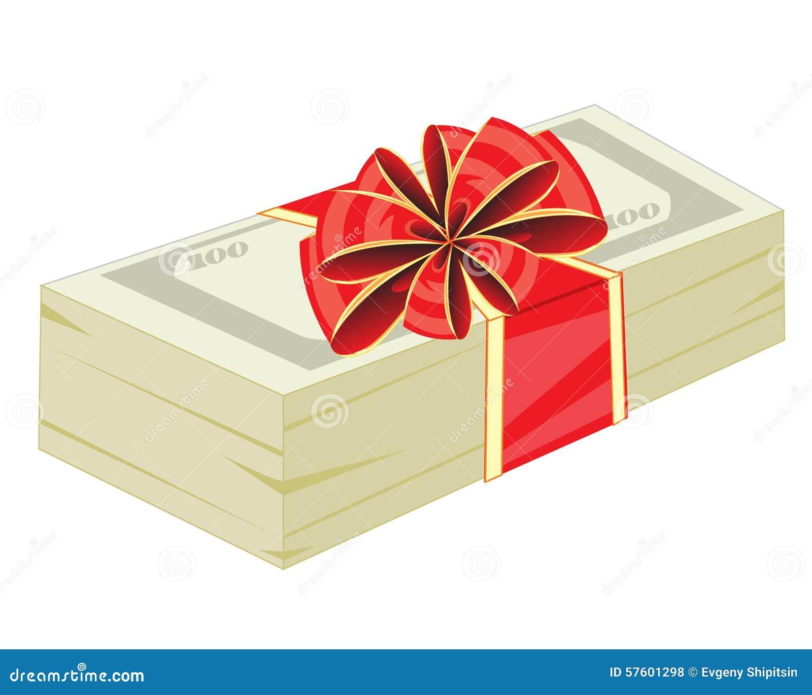 geld im geschenk zum verpacken vektor abbildung bild. Black Bedroom Furniture Sets. Home Design Ideas