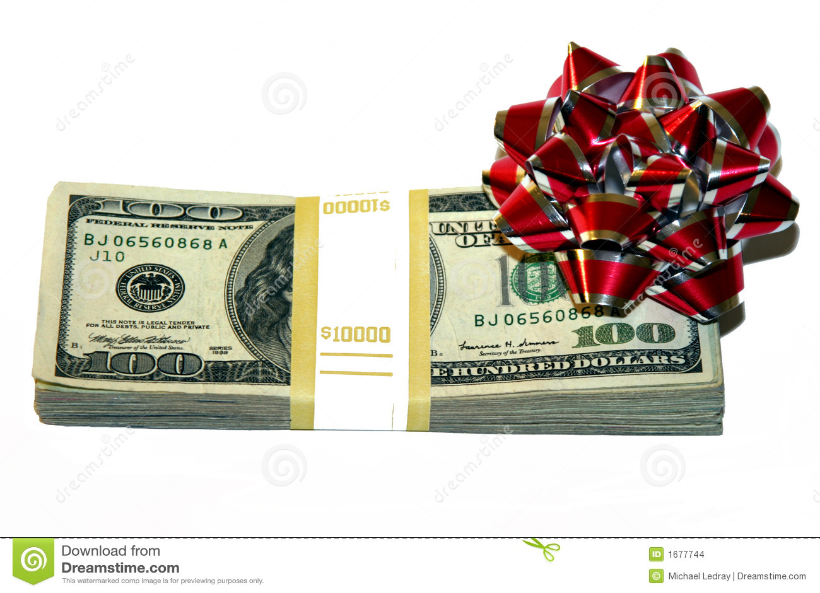Geld mit einem Bogen als Geschenk