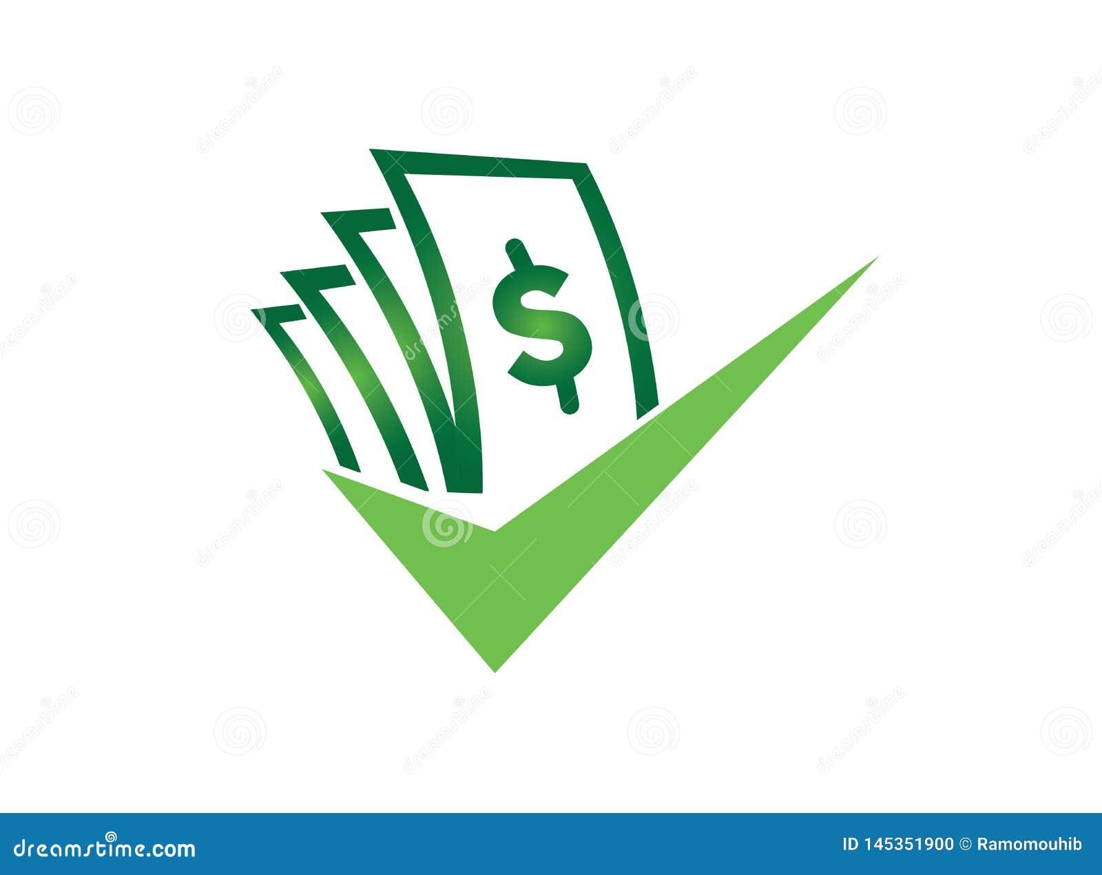 Geld mit Häkchen für Logoentwurfsillustrator, gutes Abkommensymbol, Wertpapiergeschäftikone