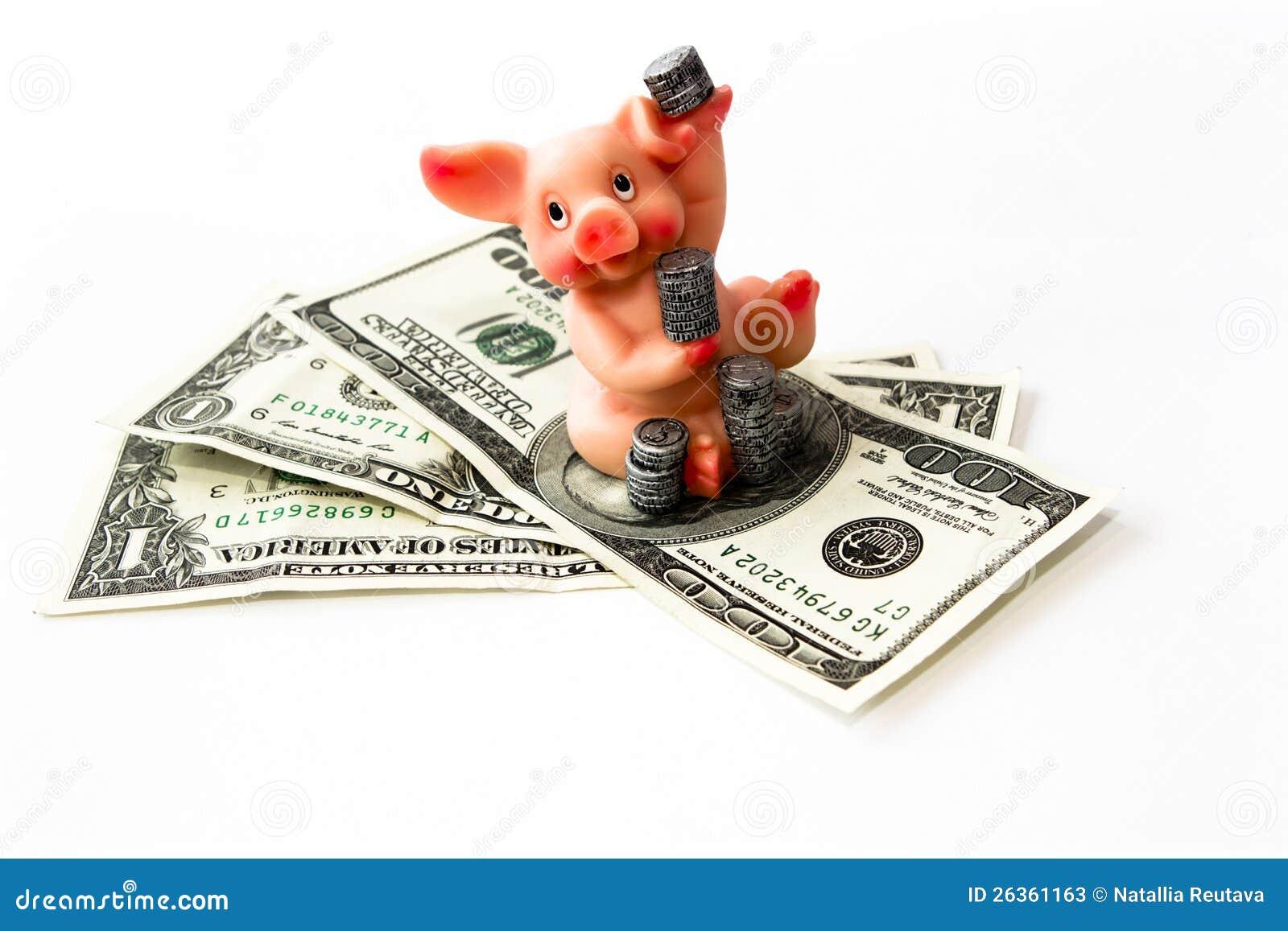 Geld mit Schwein und Münzen