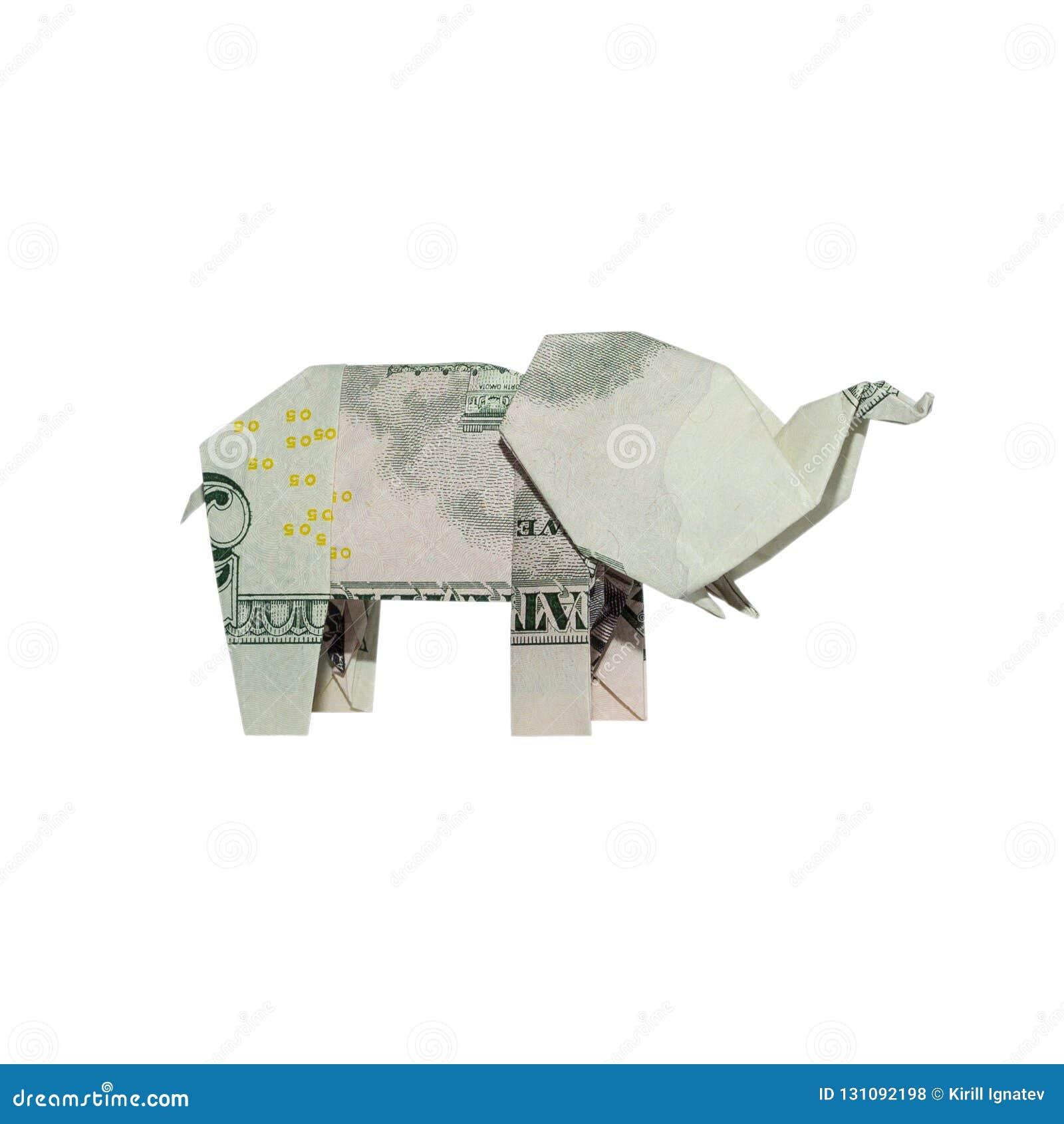 Geld-Origami ELEFANT rechte Seite faltete sich mit wirklichem Fünfdollarschein
