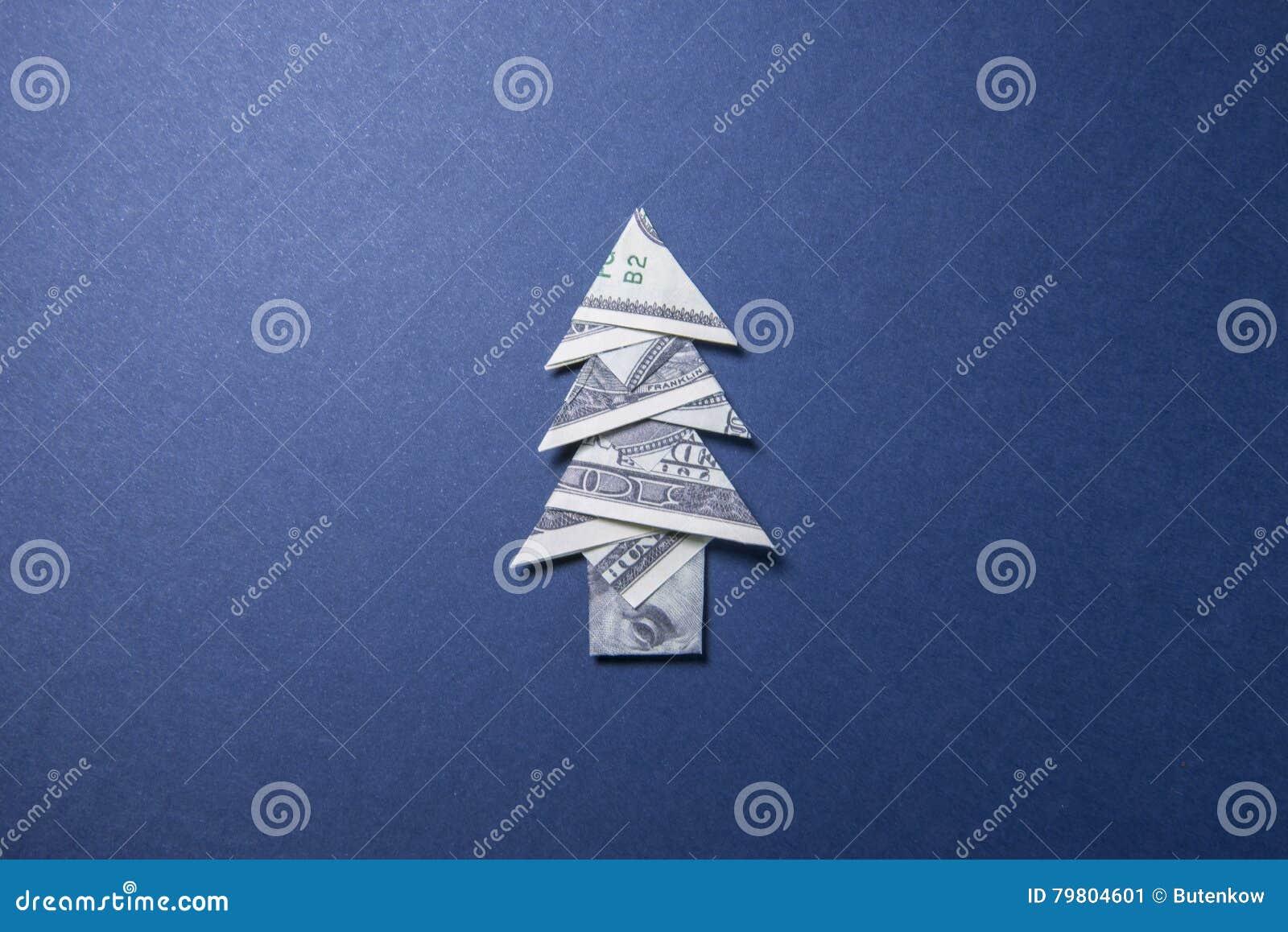 geld origami weihnachtsbaum stockfoto bild 79804601. Black Bedroom Furniture Sets. Home Design Ideas