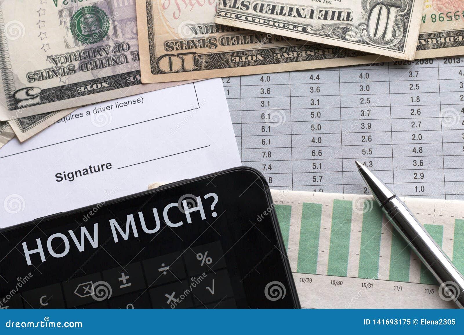 Geld, Taschenrechner und Dokument mit Platz für Unterzeichnung Ziele,