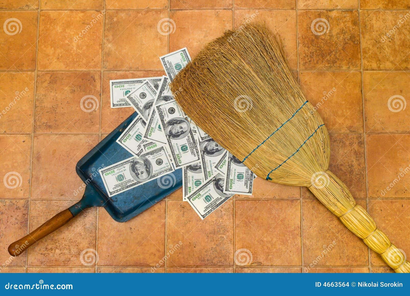 Fußboden Aus Geld ~ Geld und besen stockfoto bild von dollar zinsen fußboden