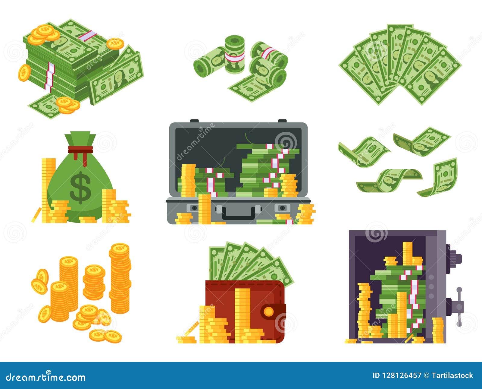 Geldbanknote Wechseln Sie Tasche, Banknoten Geldbörse ein und Dollar häufen im Safe Losdollarstapel und isometrischer Vektor der