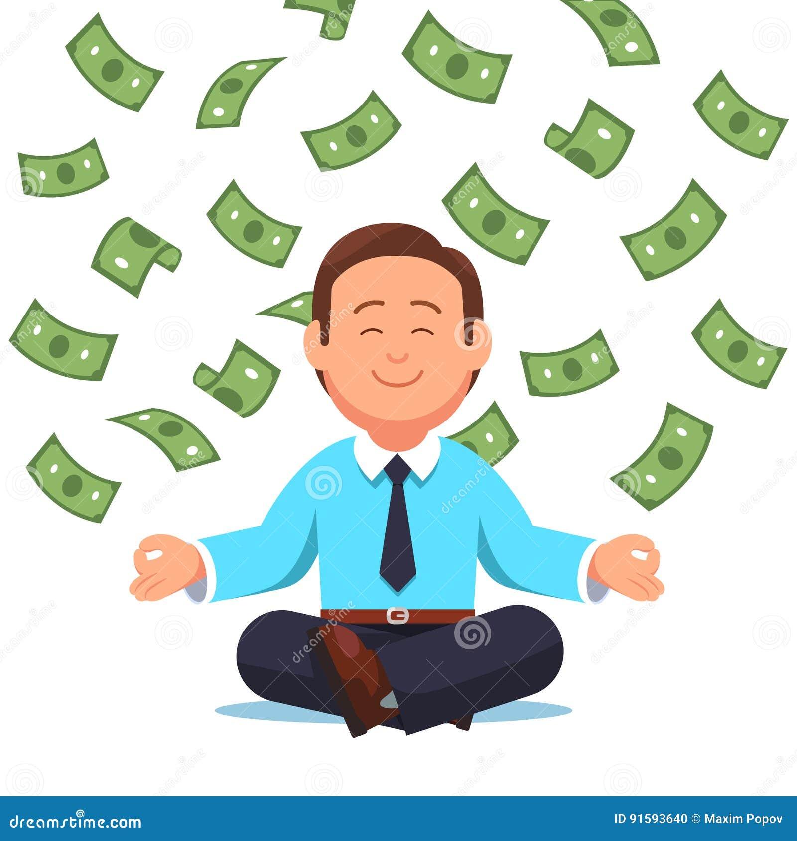 Geldcontant geld die neer op bedrijfsmensenzitting vliegen