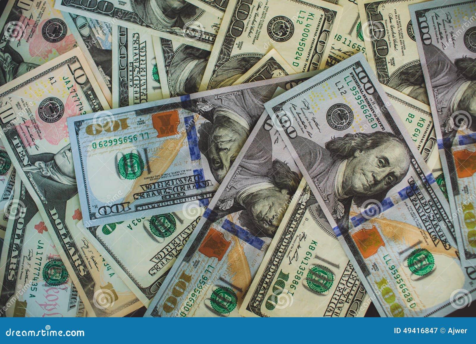 Geldhintergrund Stapel $100-Dollar-Banknote Stockbild - Bild von ...