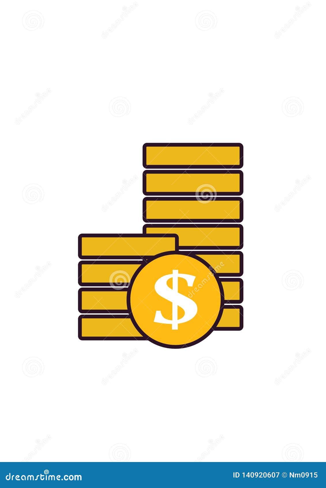 Geldpictogram - stapel van muntstukken geïsoleerd beeld