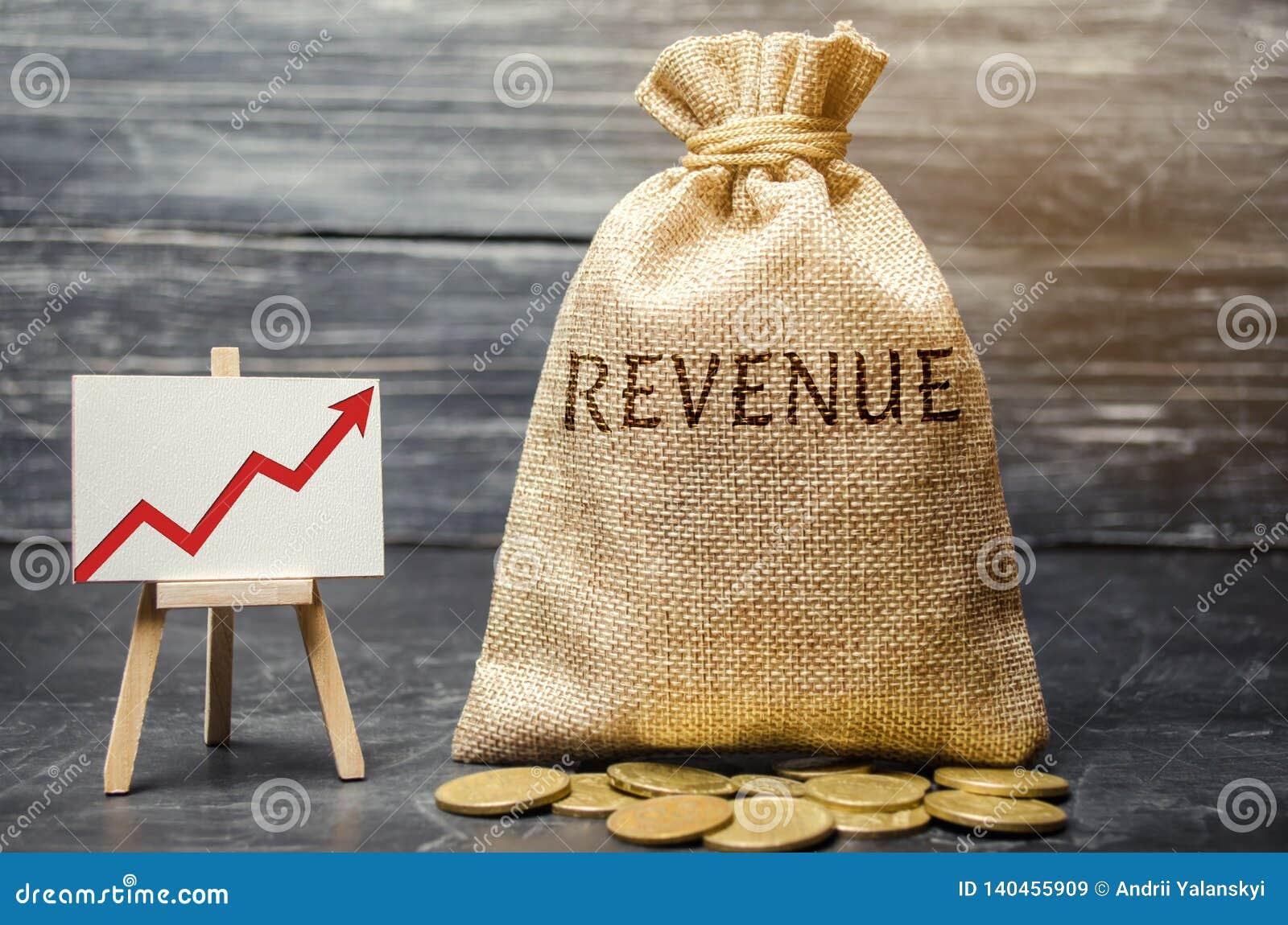 Geldzak met de de woord omhoog Opbrengst en grafiek Het concept stijgende winsten en financiën De begrotingsgroei in het bedrijf