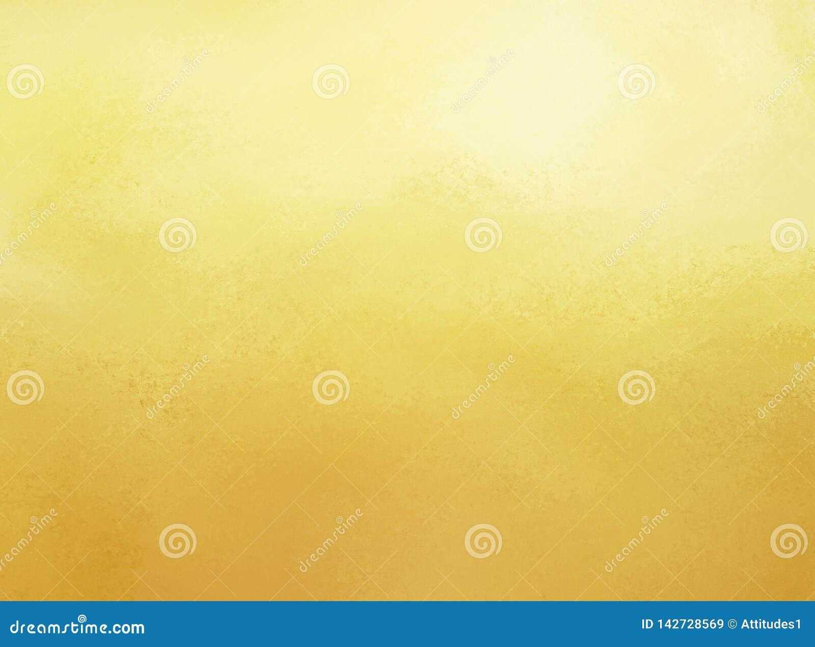 Gele achtergrond met verontruste textuur en gradiënt witte verlichting, elegant gouden ontwerp als achtergrond