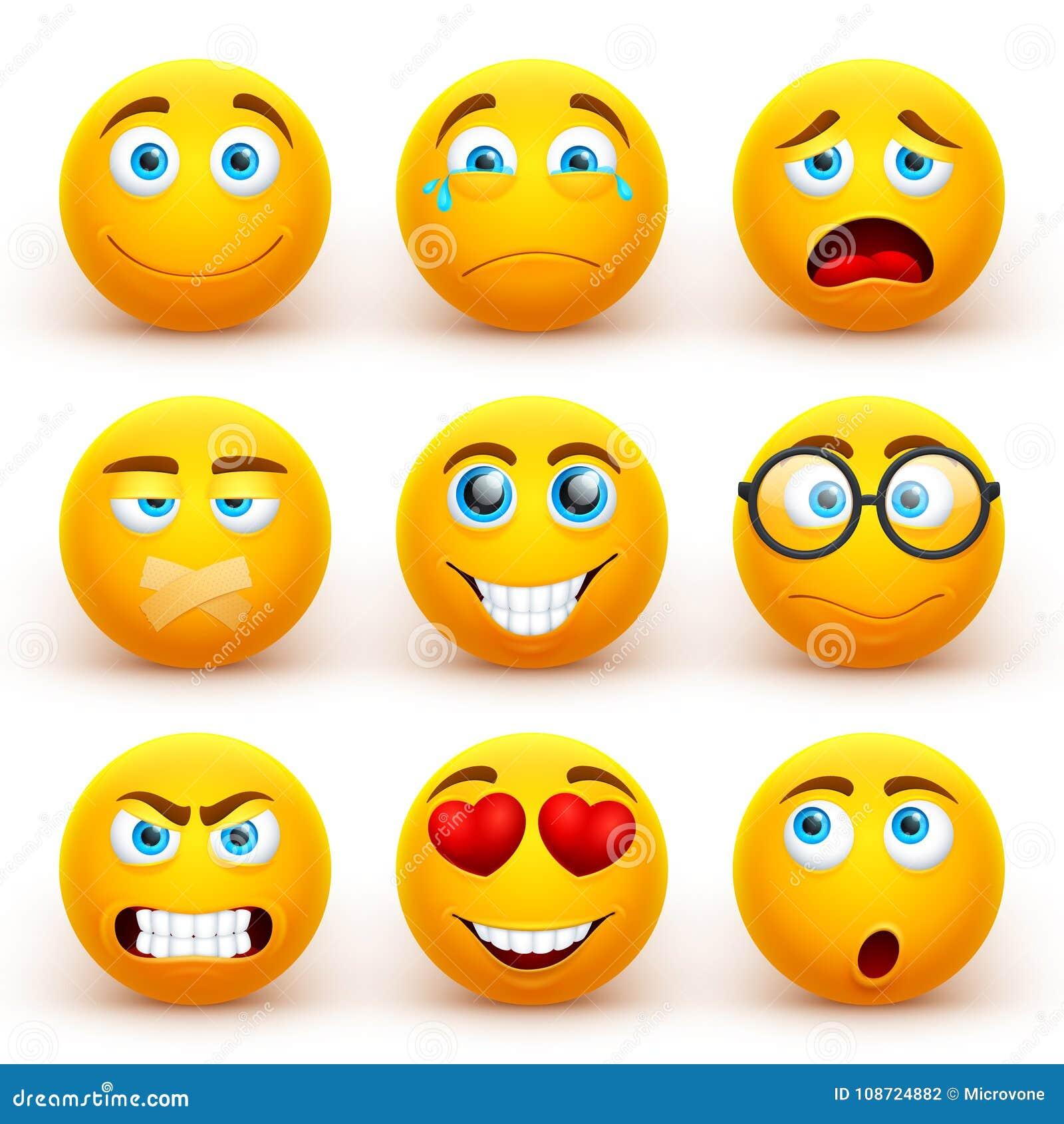 Gele 3d emoticons vectorreeks De grappige pictogrammen van het smileygezicht met verschillende uitdrukkingen