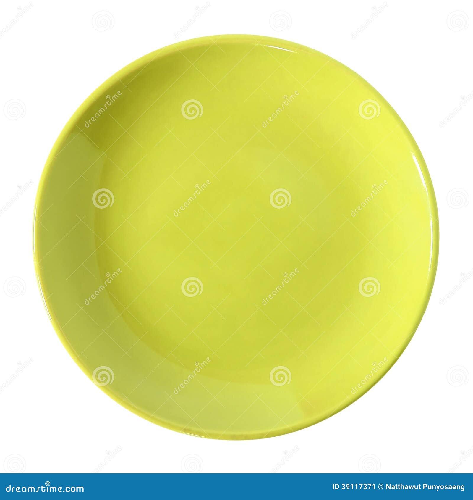 Gele die plaat op wit wordt geïsoleerd
