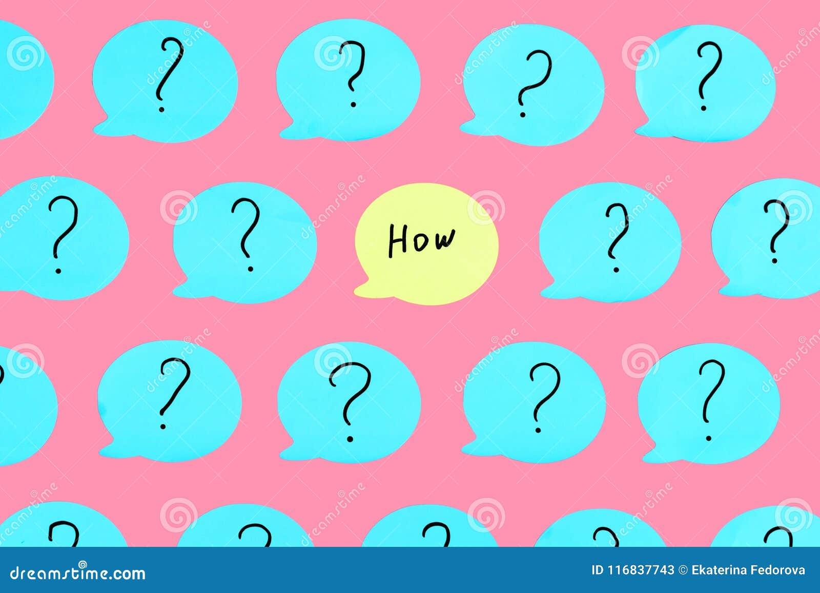 Gele die sticker met de vraag op het wordt geschreven HOE Rond hen zijn blauwe stickers met vraagtekens Mooie helder