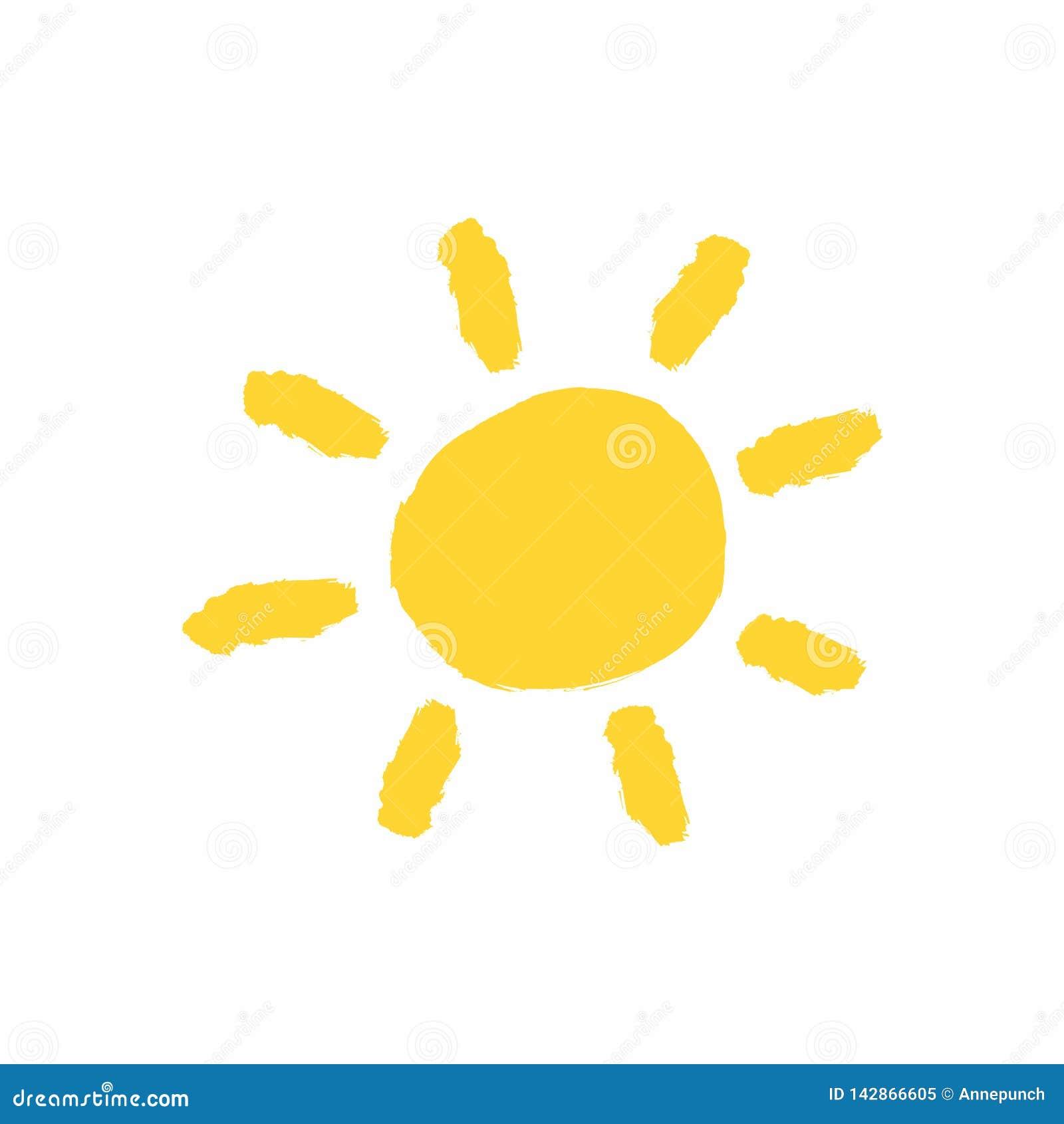Gele die zon met de hand met waterverfborstel wordt getrokken Grungepictogram, embleem, symbool Schets, verf, graffiti