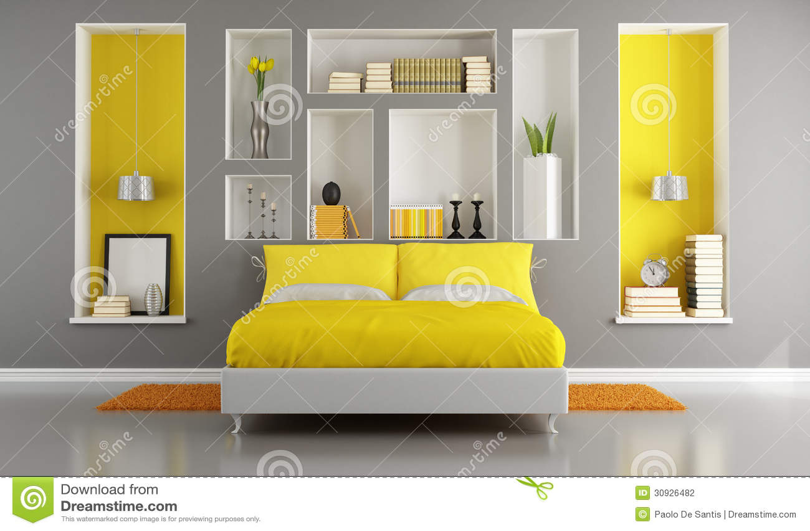 Gele en grijze moderne slaapkamer met tweepersoonsbed en gebied die ...