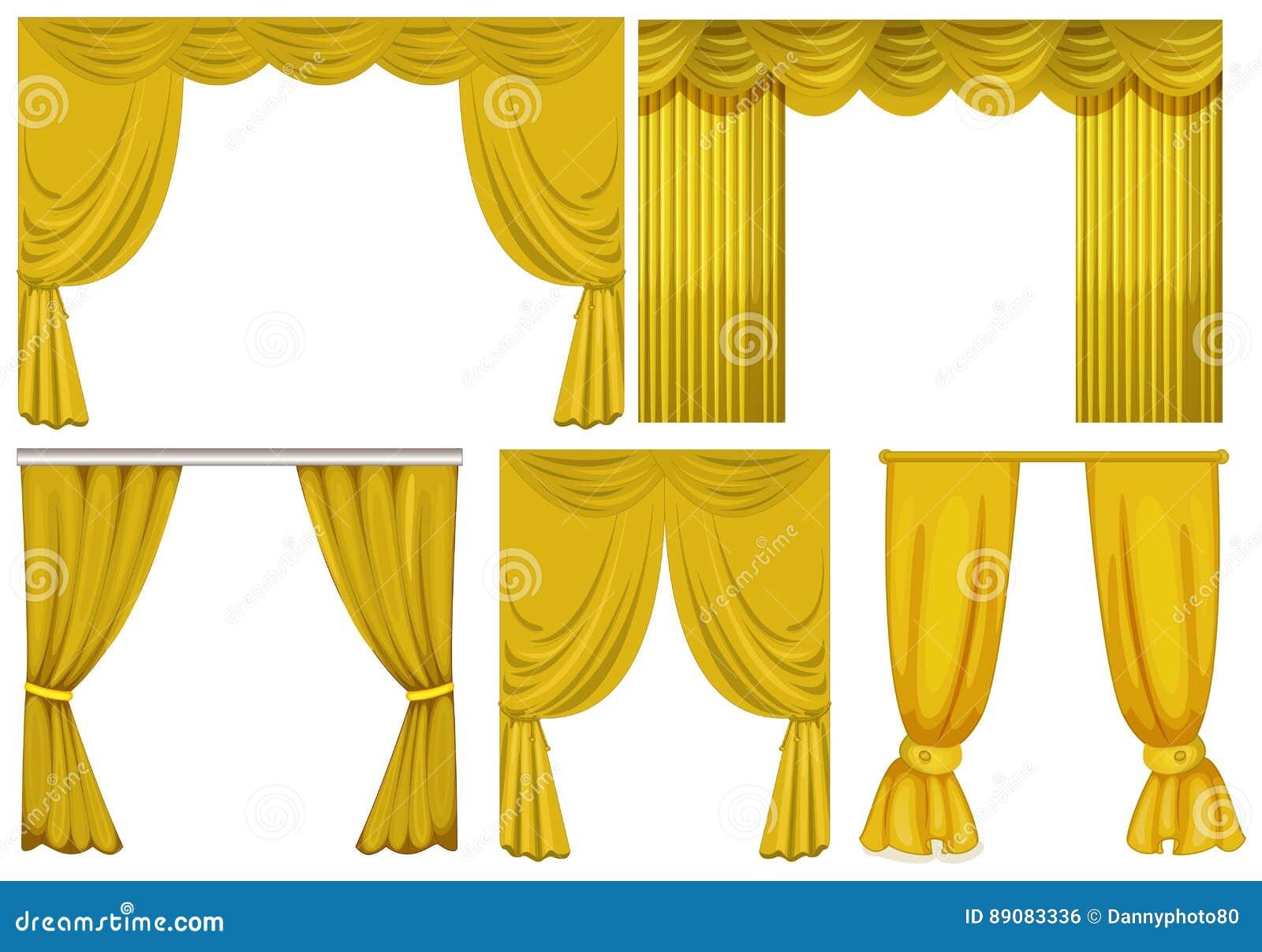 gele gordijnen op witte achtergrond