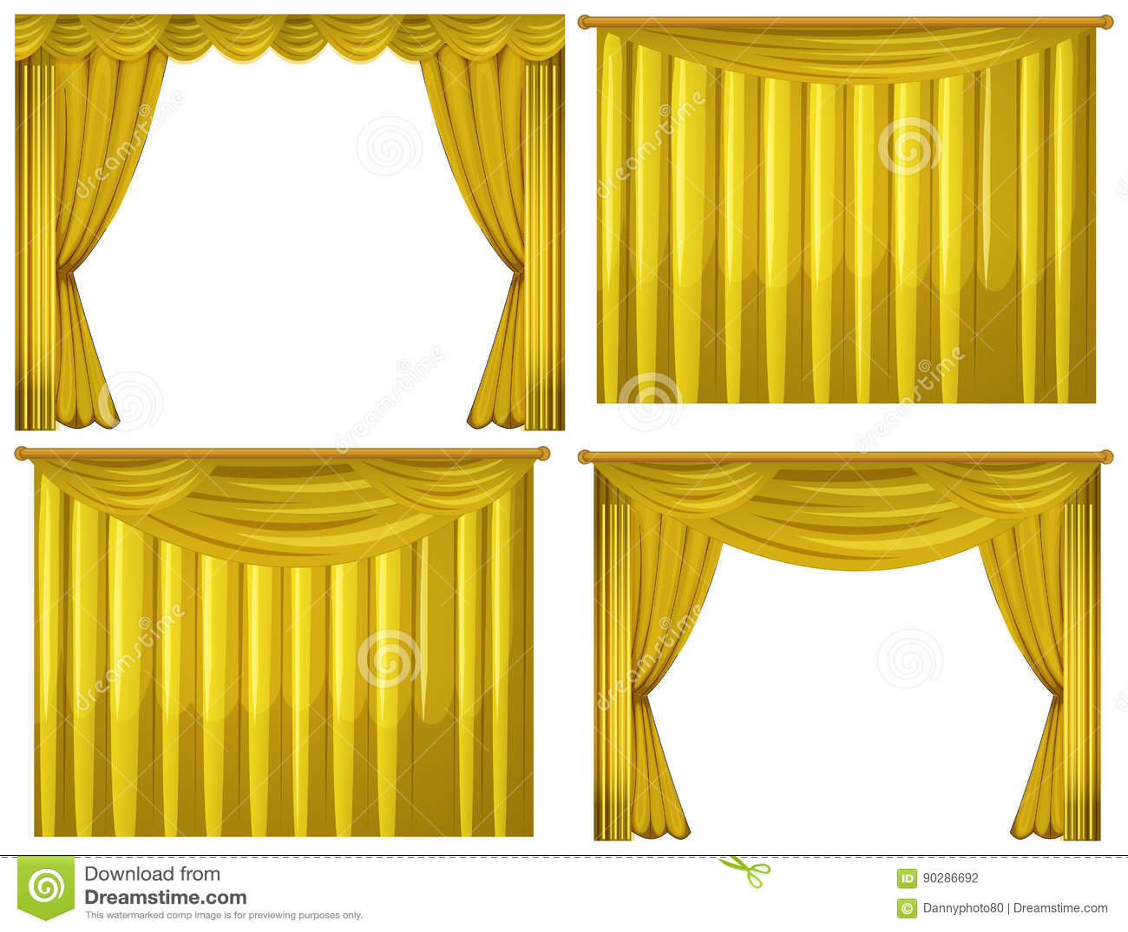 gele gordijnen in vier stijlen