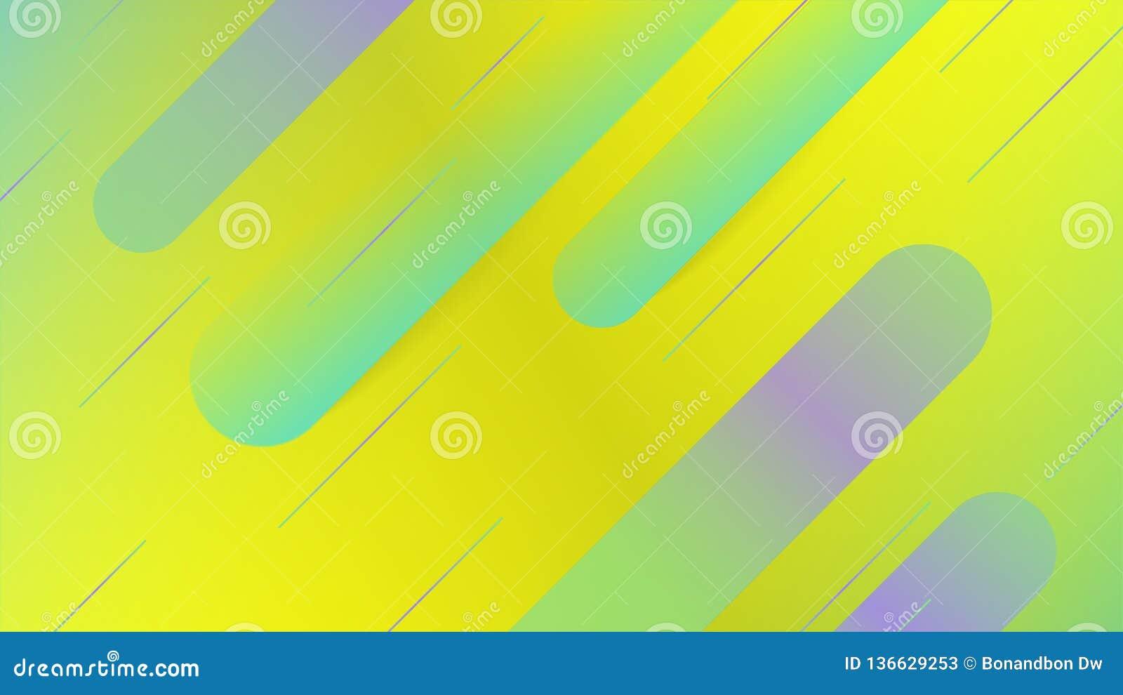 Gele & groene abstracte achtergrond met in vormen, minimale achtergrond