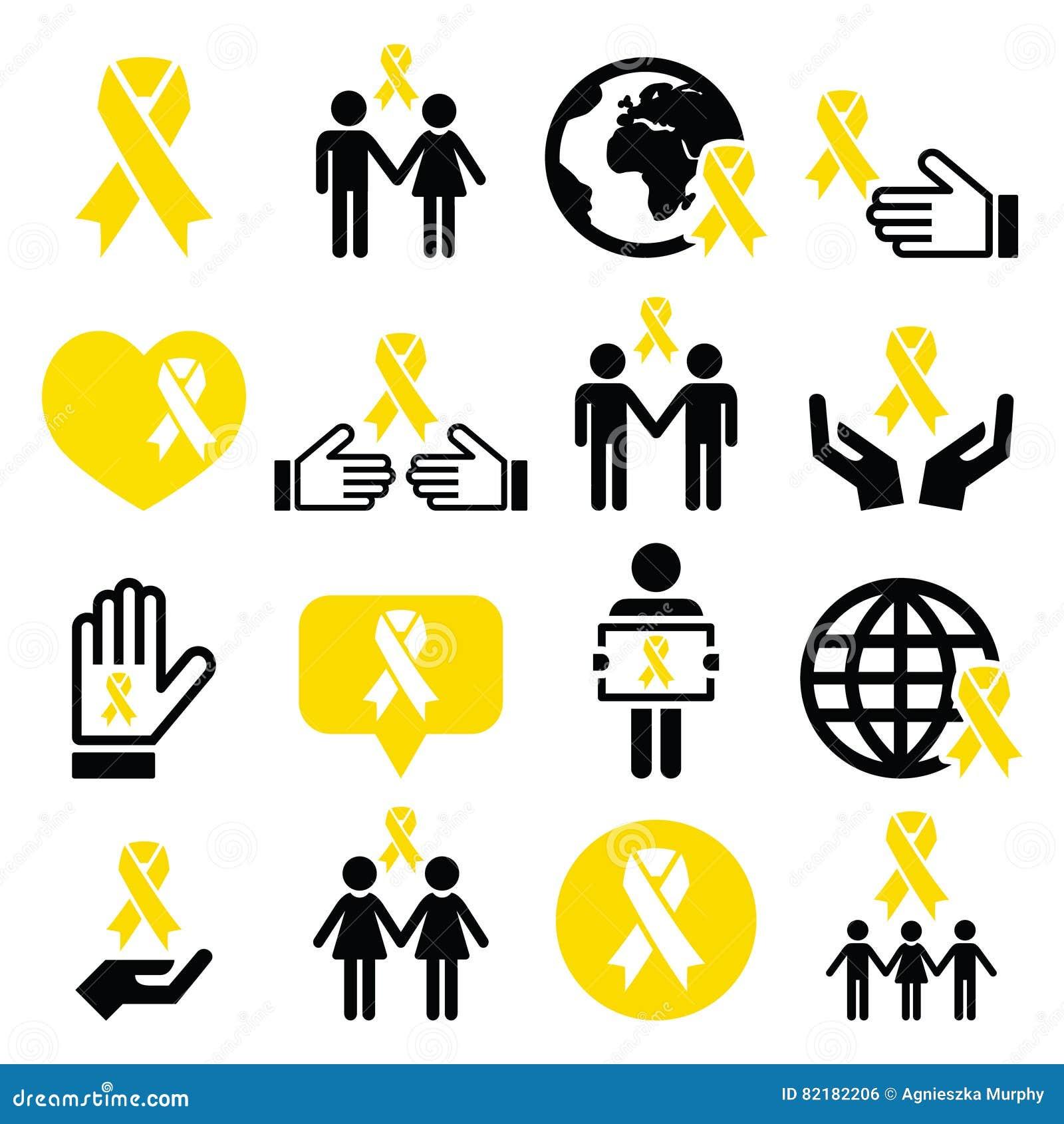 Welp Gele Lintpictogrammen - Zelfmoordpreventie, Steun Voor Troepen CL-51