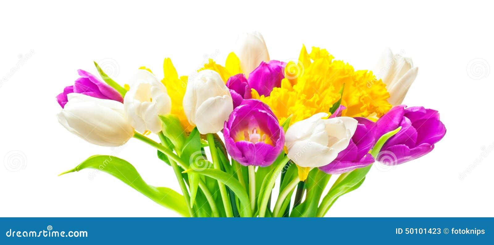 Gele narcissen, tulpen, Pasen-boeket